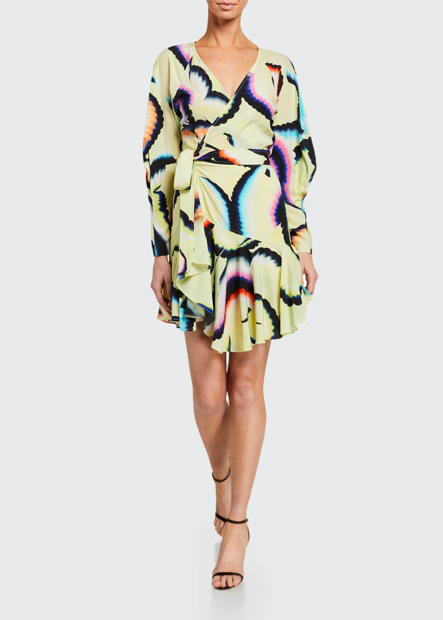 Enzo Printed Flounce Wrap Dress