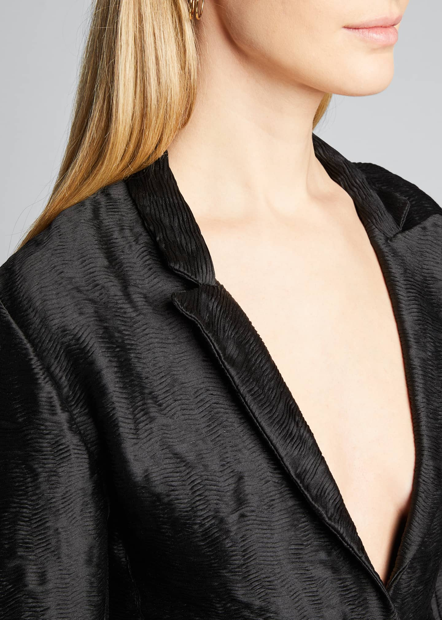 Image 4 of 5: Hammered Satin Blazer Jacket