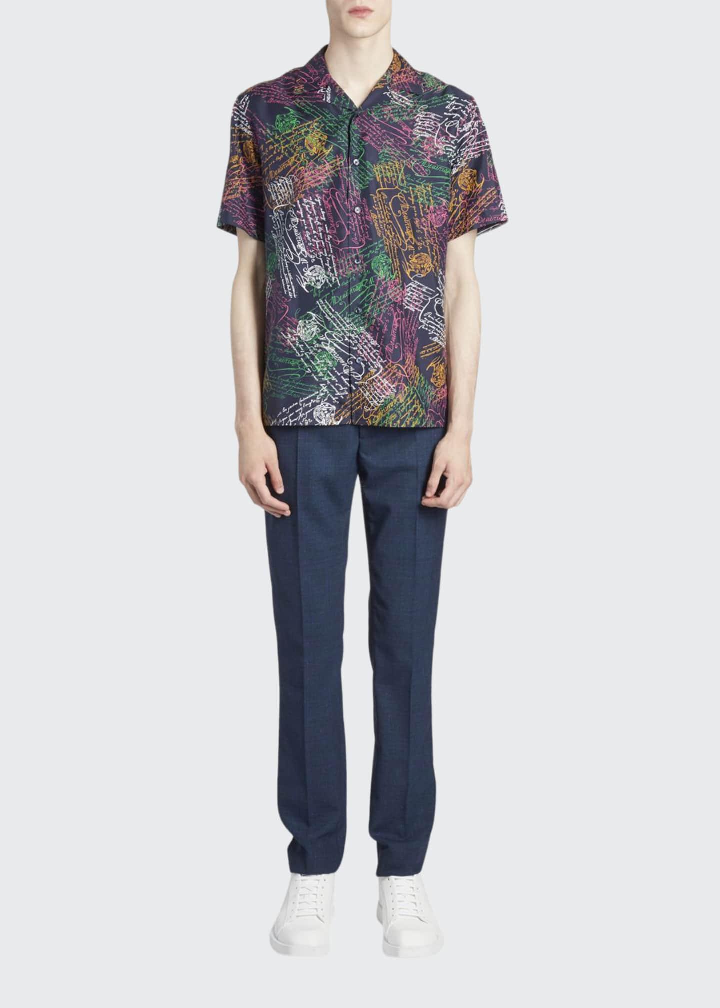 Berluti Men's Multi Scritto Silk Short-Sleeve Sport Shirt
