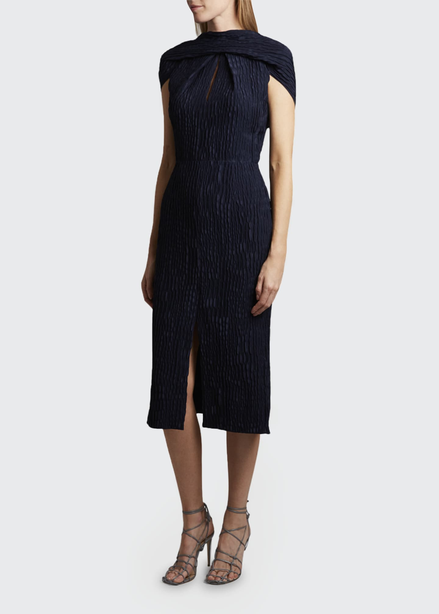 Belem Dress Silk Jacquard High Neck Dress