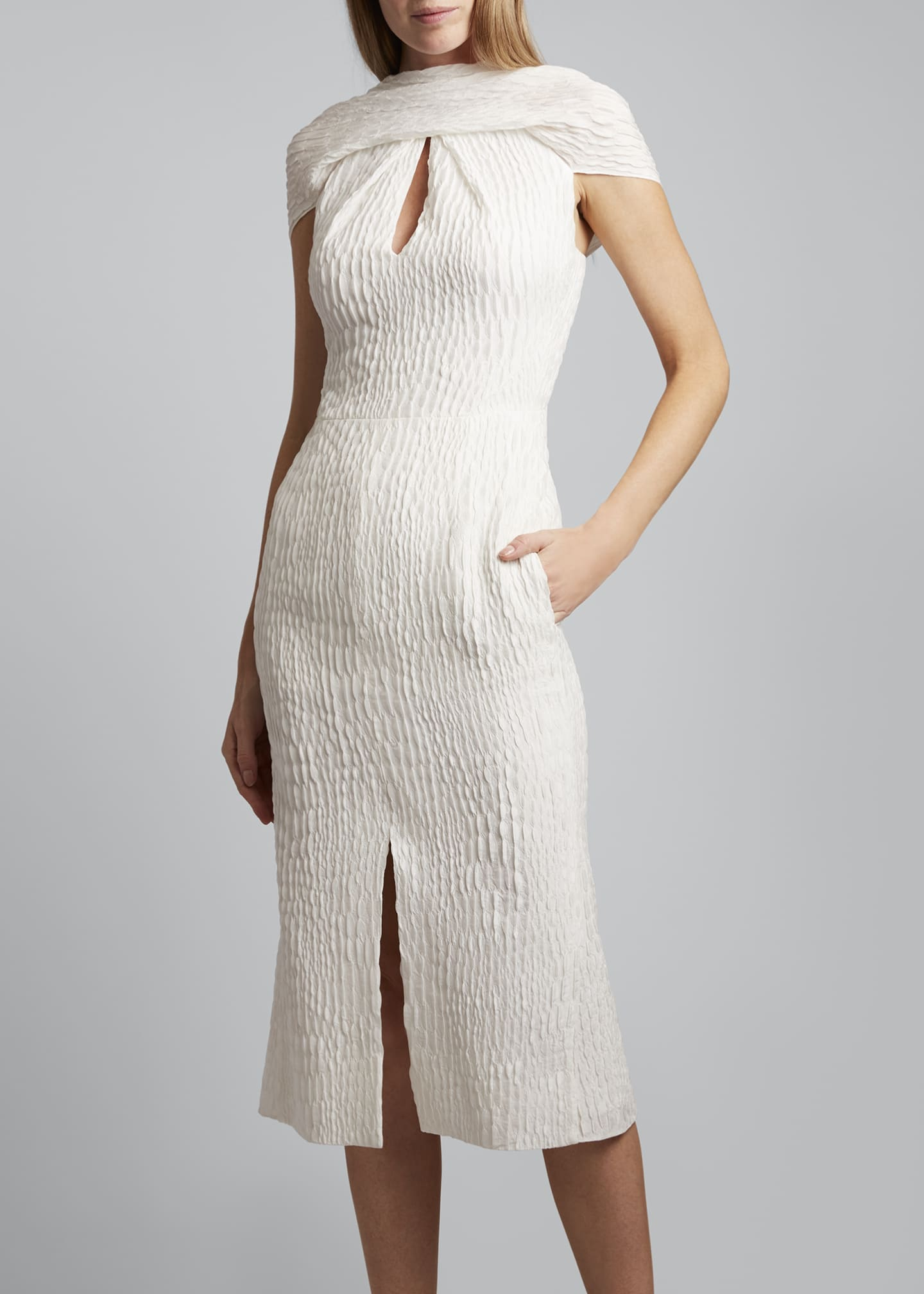 Image 3 of 3: Belem Dress Silk Jacquard High Neck Dress