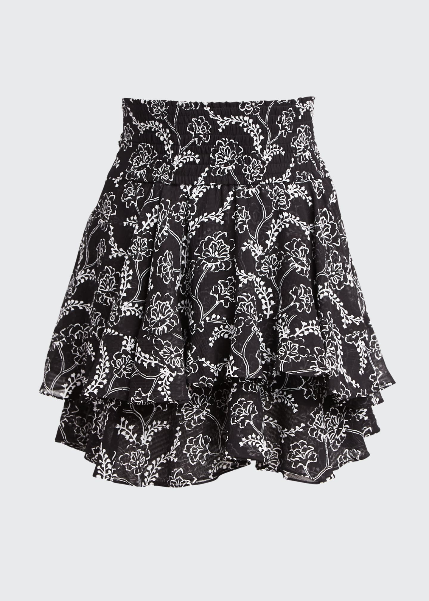 Image 5 of 5: Vera Floral-Print Tiered Skirt