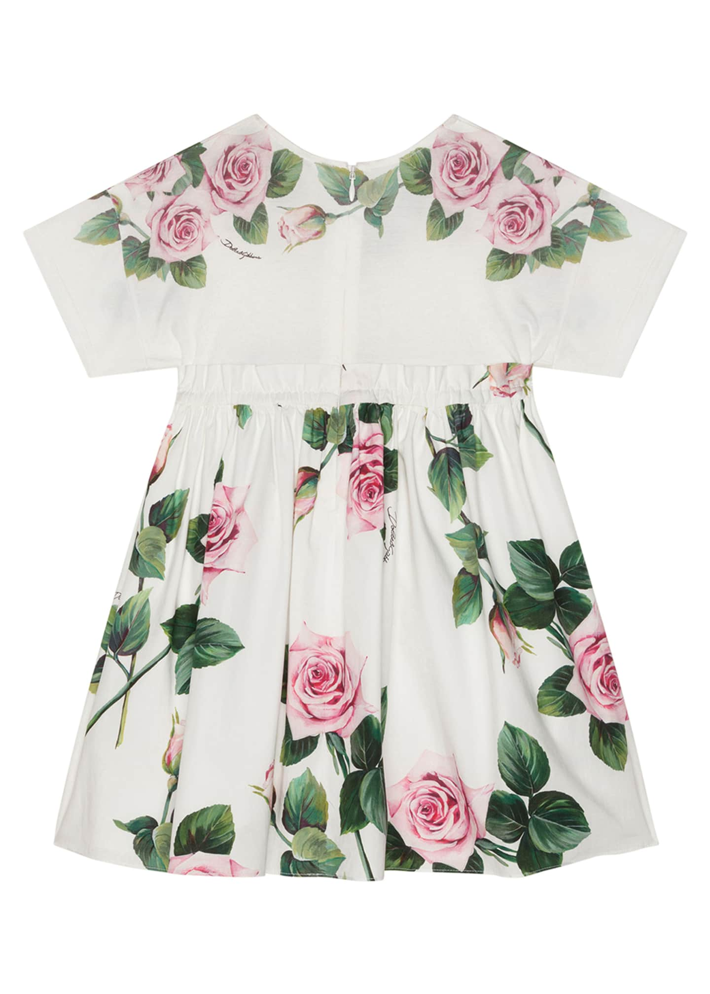 Image 2 of 2: Girl's Rose Print Combo Knit Top Dress, Size 8-12