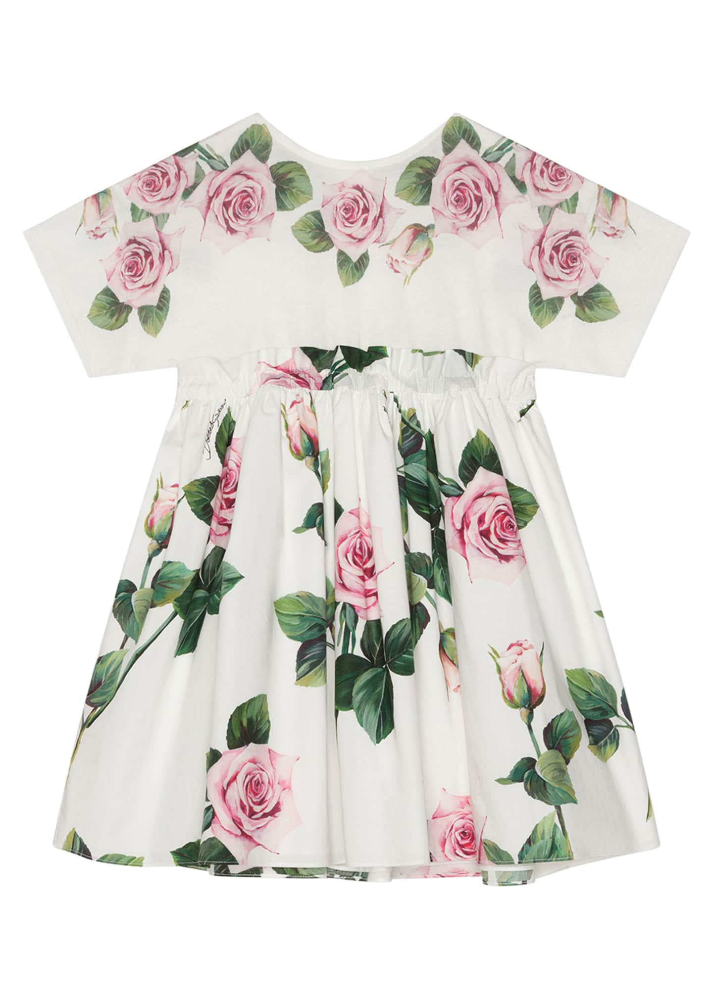 Image 1 of 2: Girl's Rose Print Combo Knit Top Dress, Size 8-12