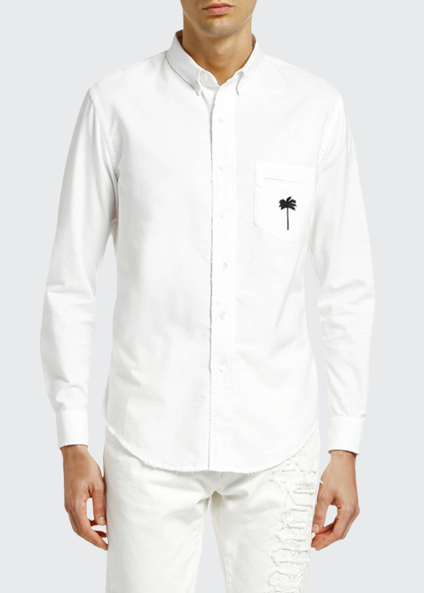 Palm Angels Men's PXP Ripped Oxford Shirt