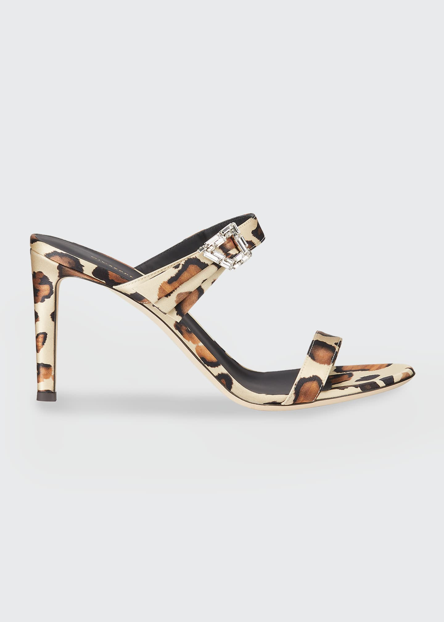 Image 1 of 3: 85mm 2-Band Leopard Fabric Sandals