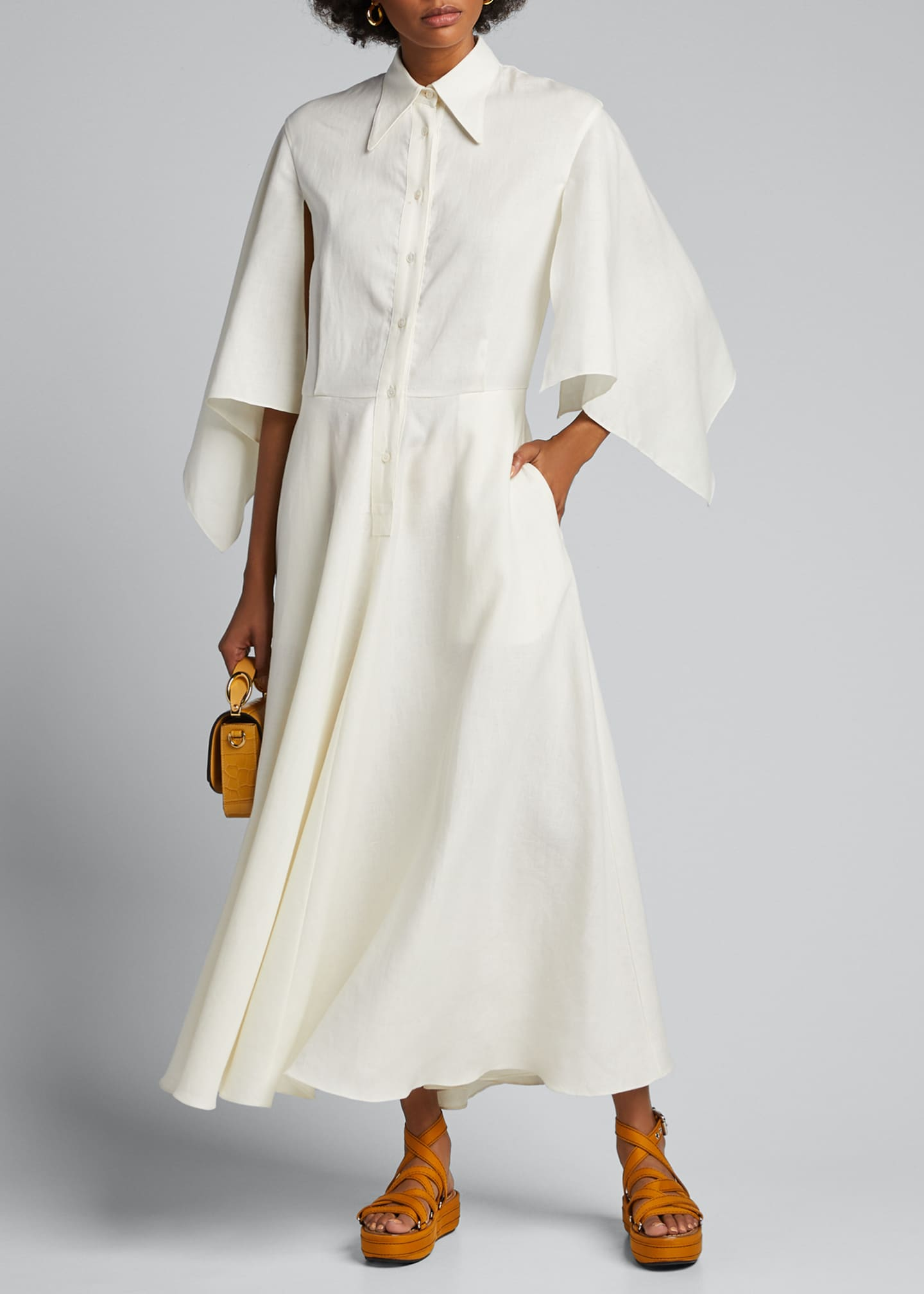 Deveaux New York Glinda Capelet-Sleeve Shirtdress