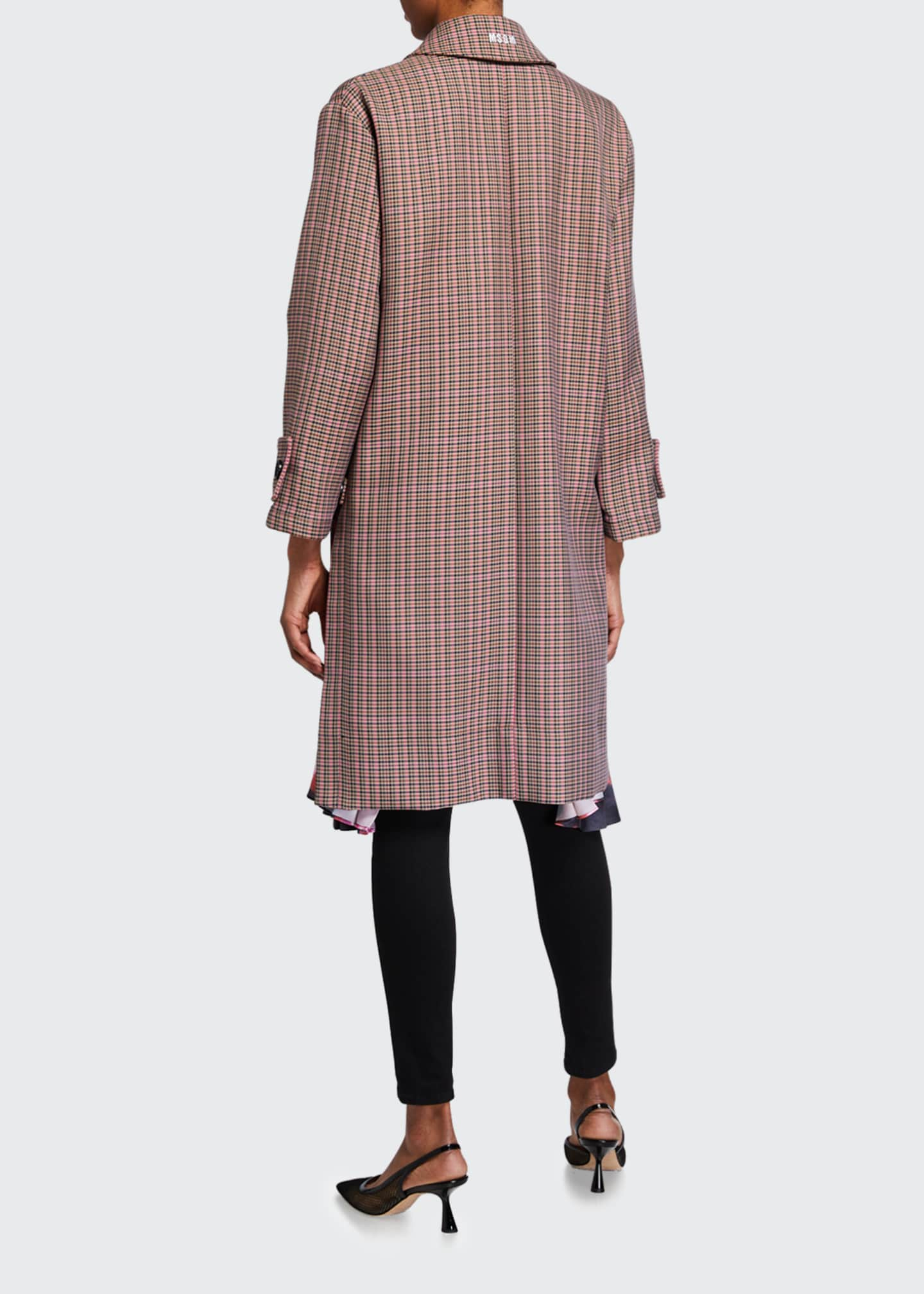 Image 2 of 4: Cappotto Plaid Coat w/ Pleats