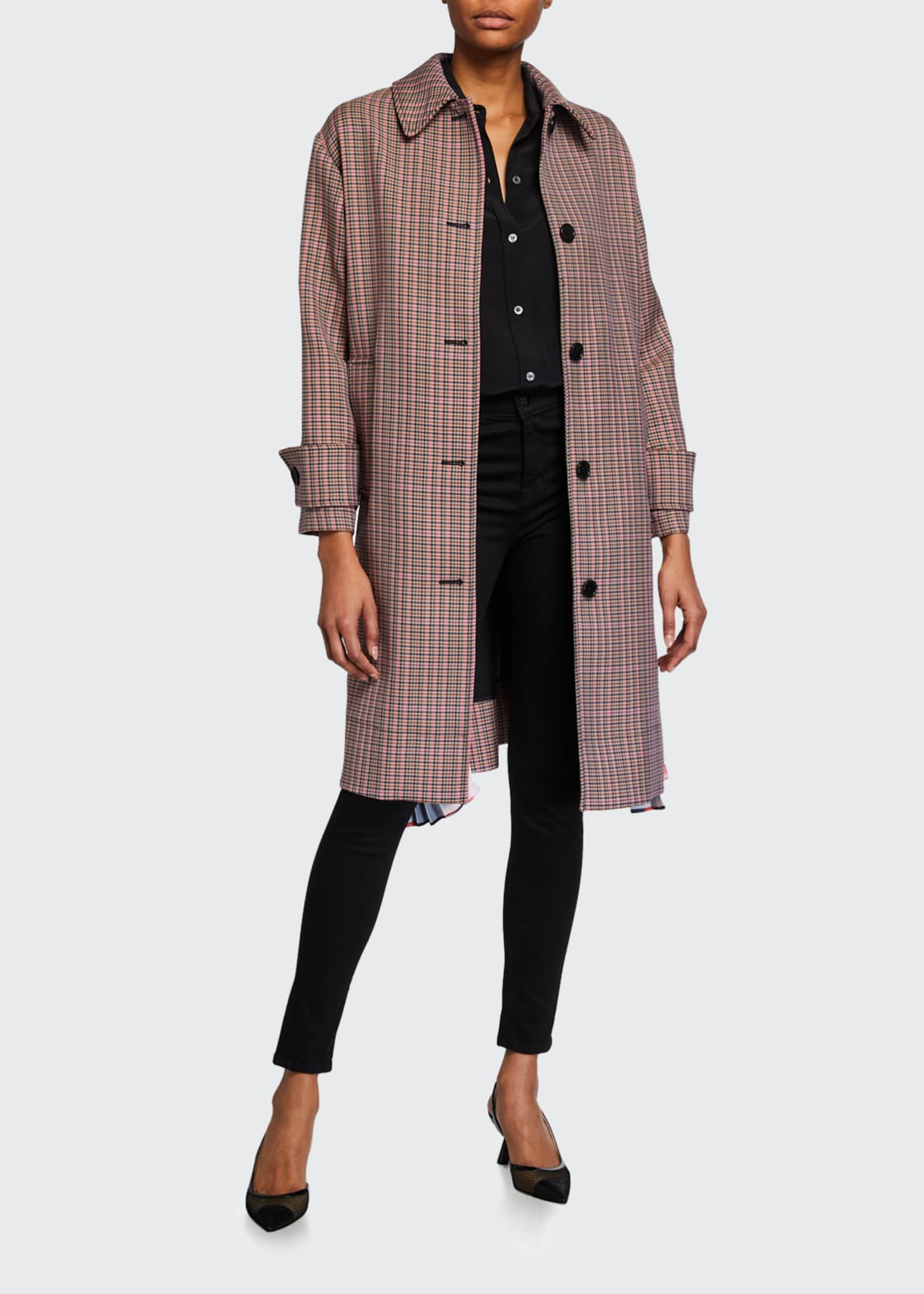 Image 3 of 4: Cappotto Plaid Coat w/ Pleats