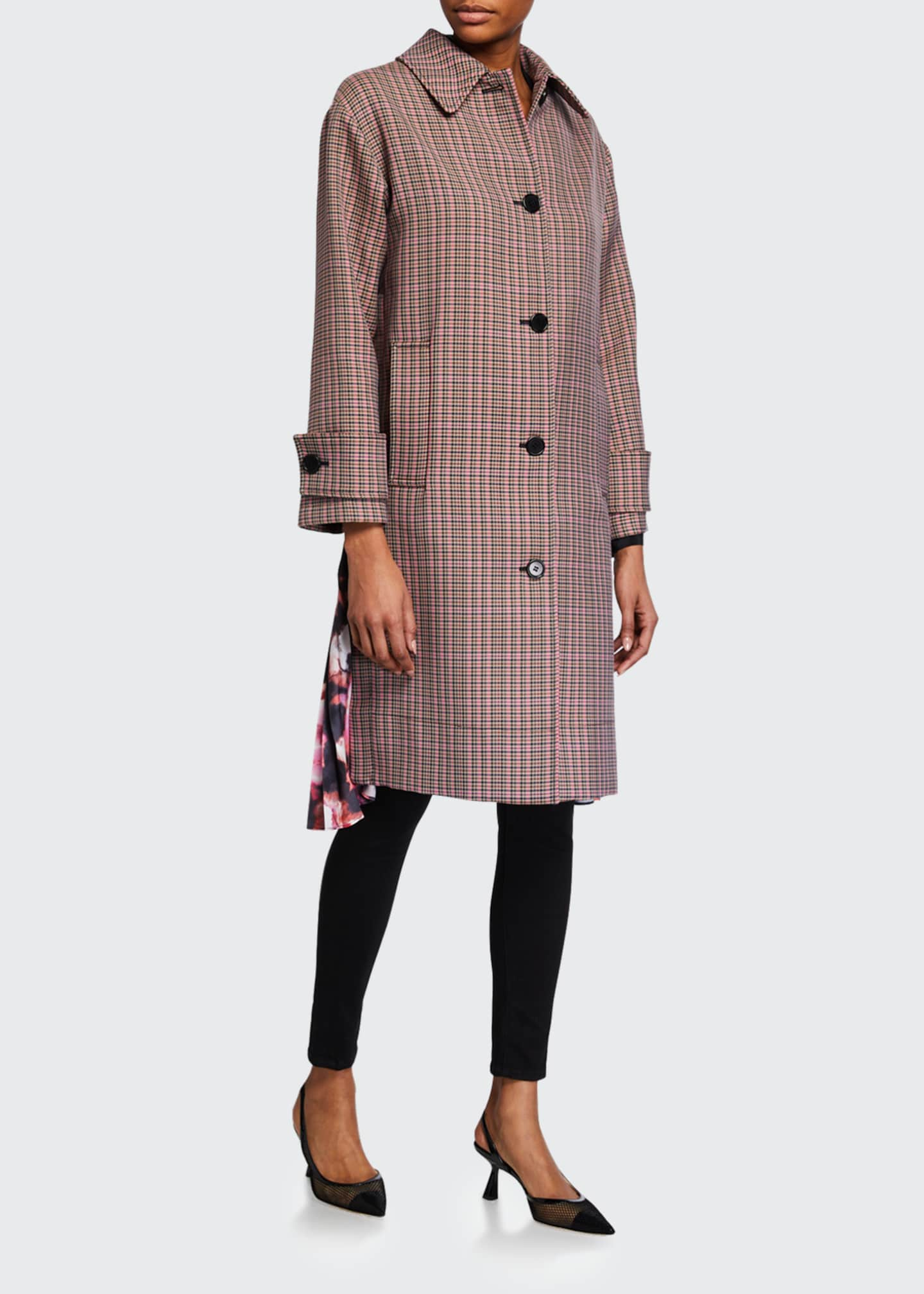 Image 1 of 4: Cappotto Plaid Coat w/ Pleats