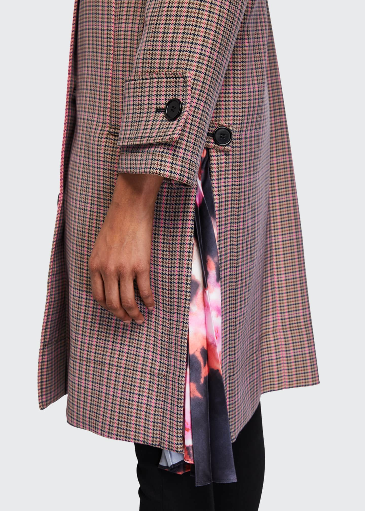 Image 4 of 4: Cappotto Plaid Coat w/ Pleats