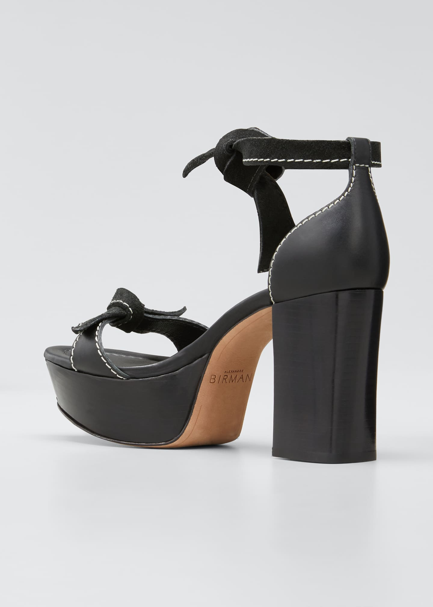Image 2 of 3: Pamella Mixed Leather Knotted Platform Sandals