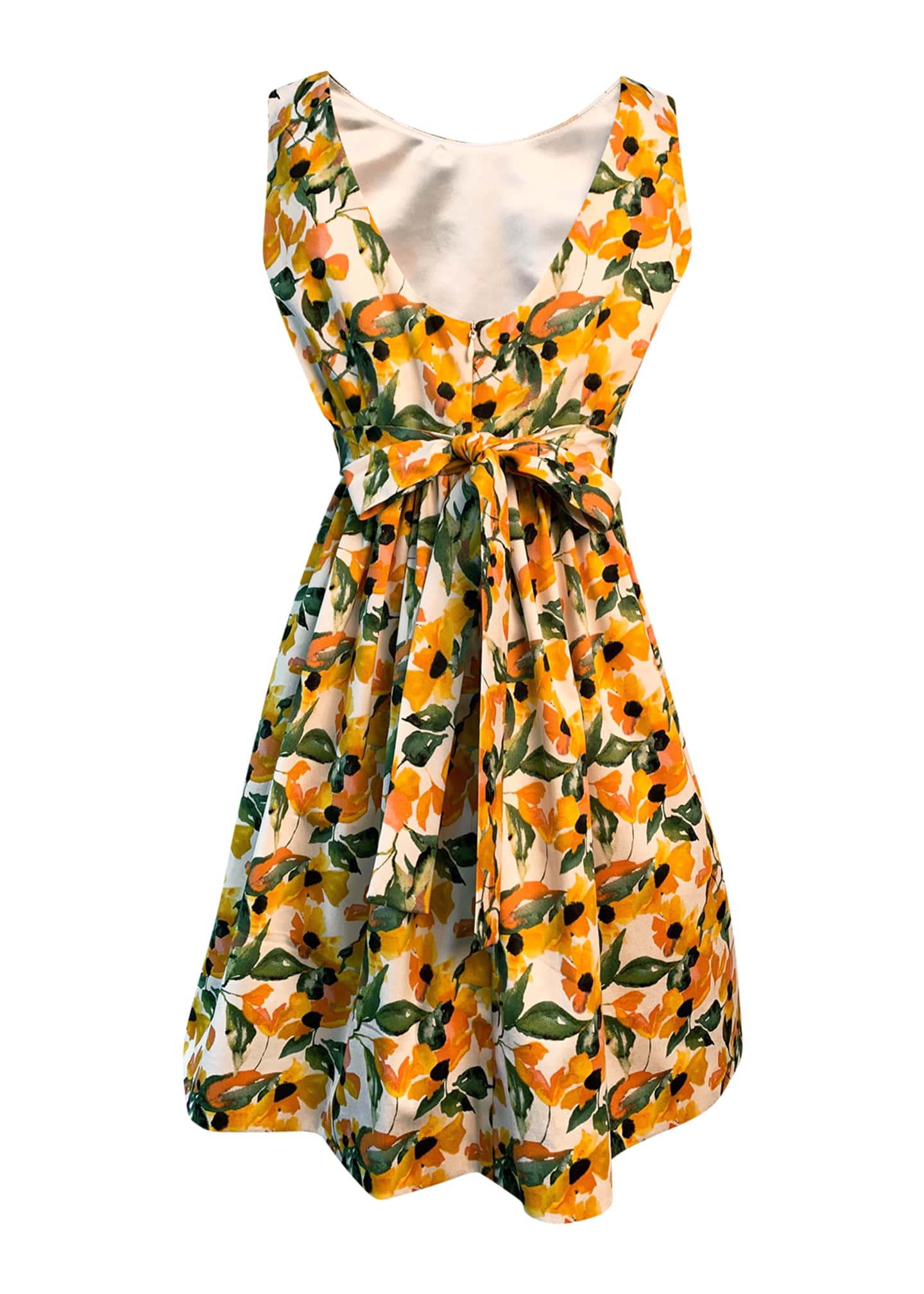 Image 2 of 2: Girl's Floral Print Sleeveless Dress, Size 4-6