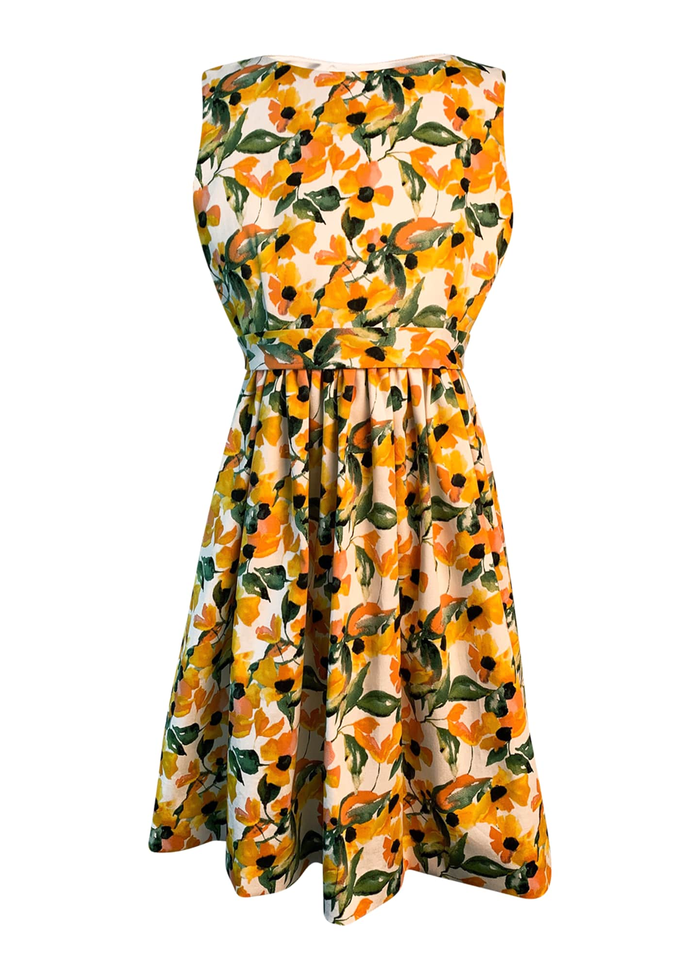 Image 1 of 2: Girl's Floral Print Sleeveless Dress, Size 4-6
