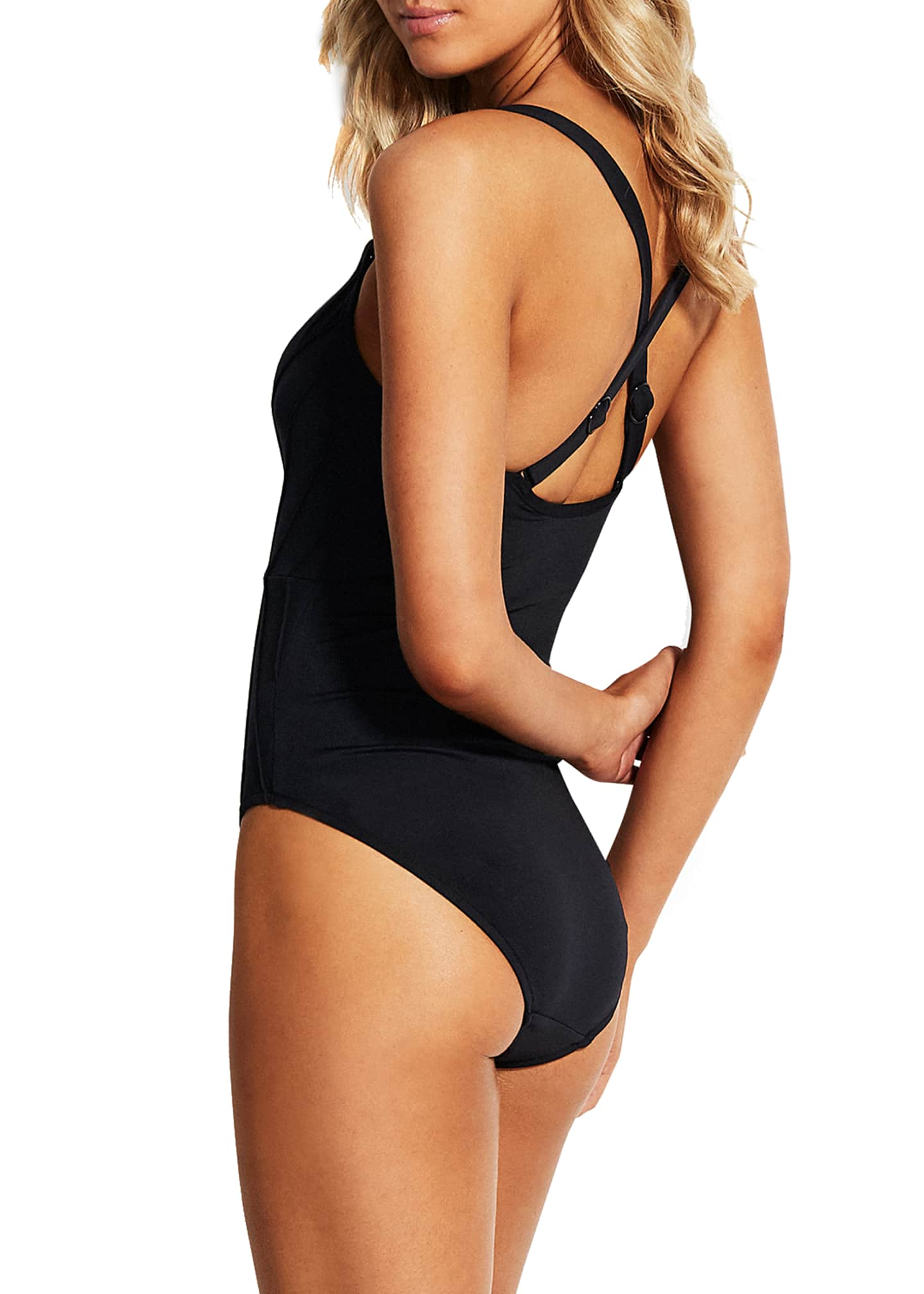 Image 2 of 3: Pintucked Maillot One-Piece Swimsuit