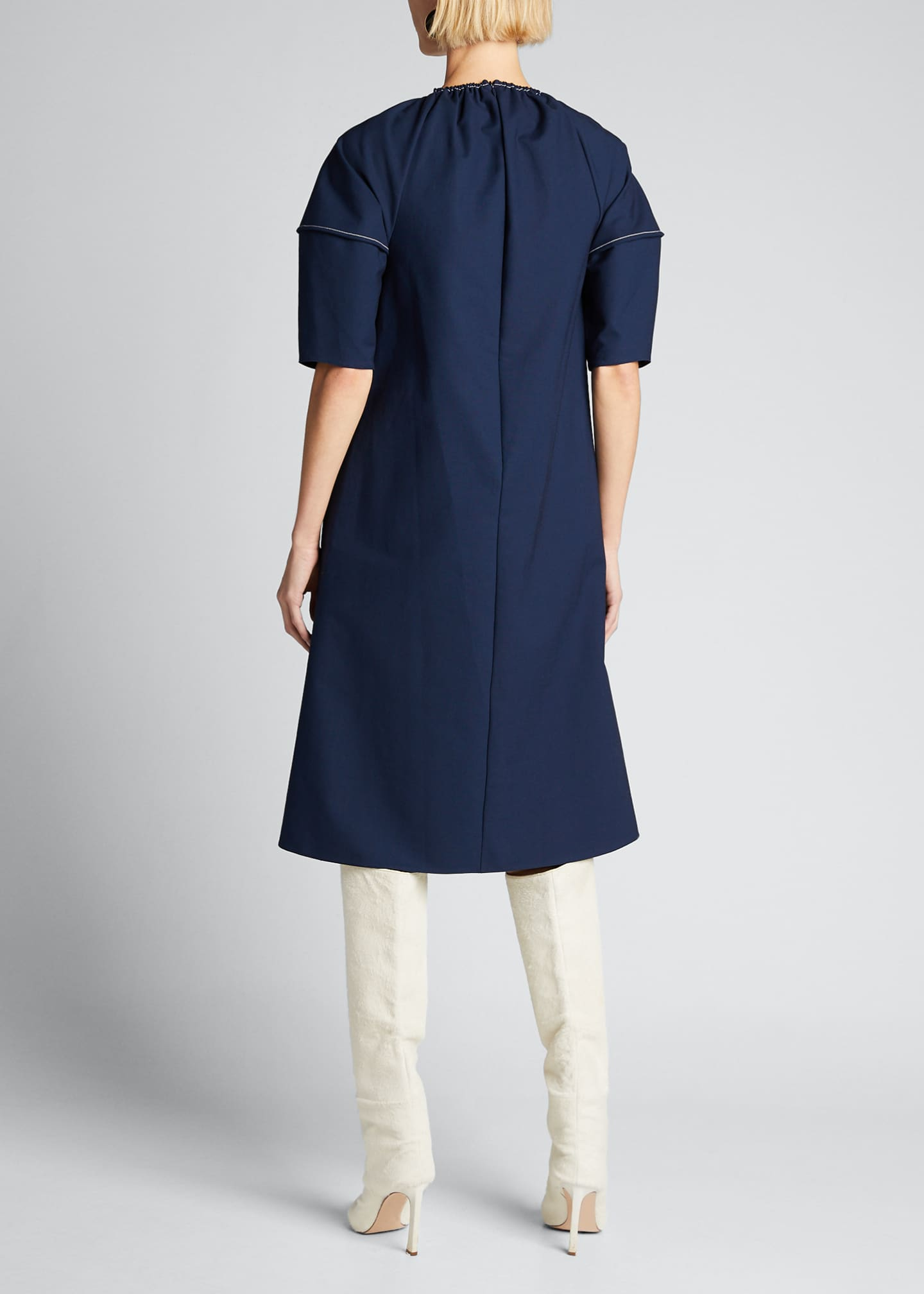 Image 2 of 5: Balloon-Sleeve Stretch Cotton Dress
