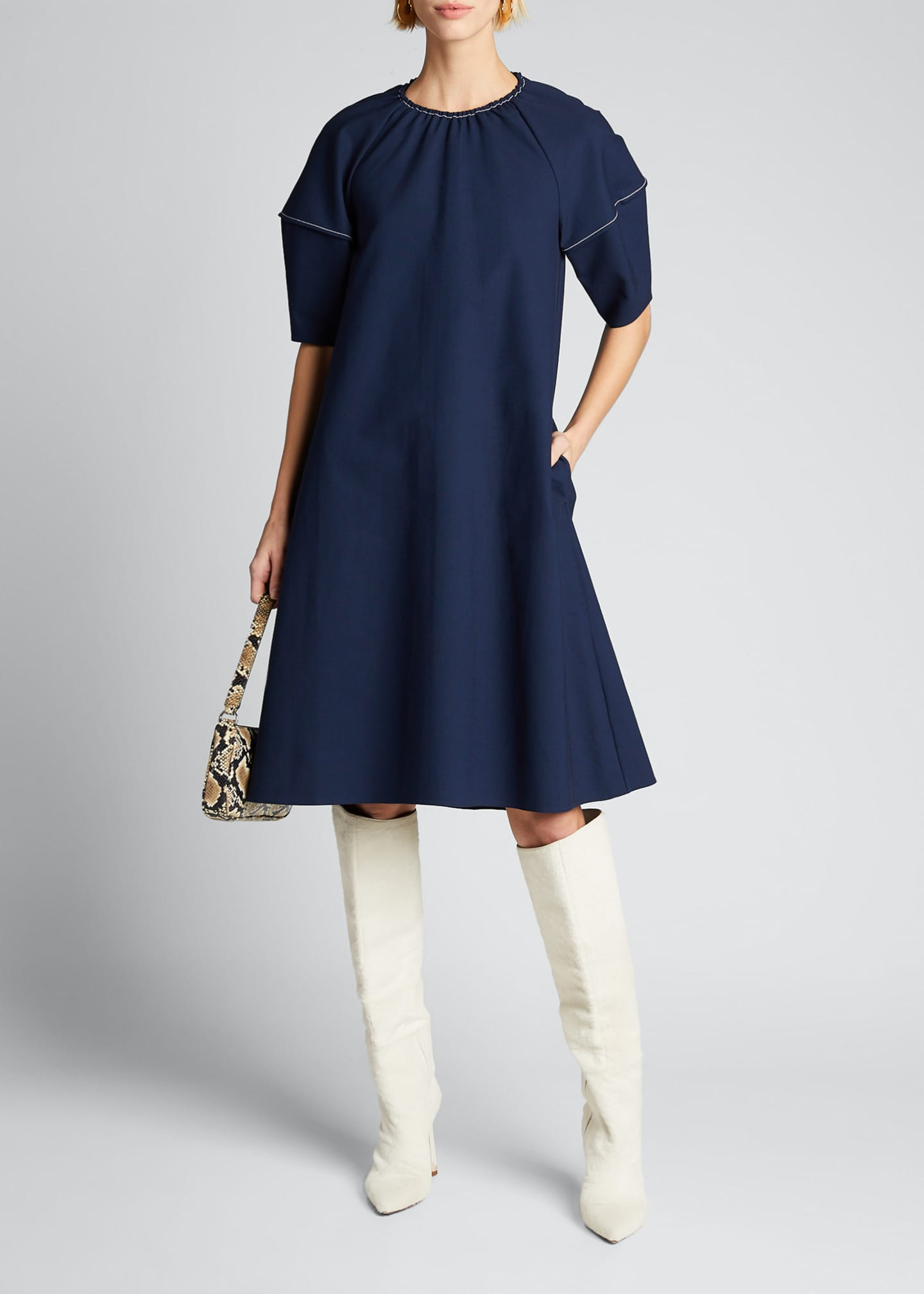 Image 1 of 5: Balloon-Sleeve Stretch Cotton Dress