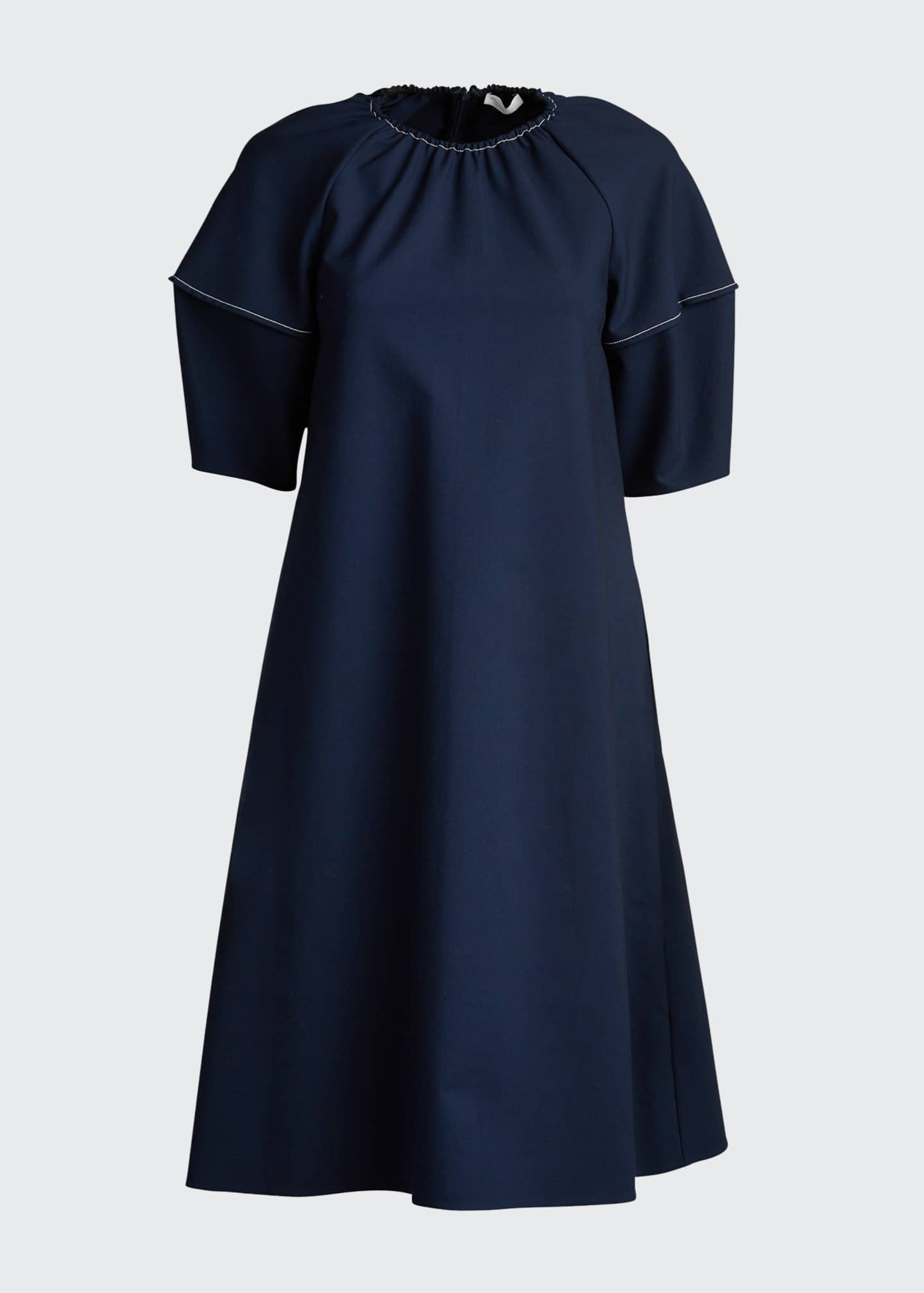 Image 5 of 5: Balloon-Sleeve Stretch Cotton Dress