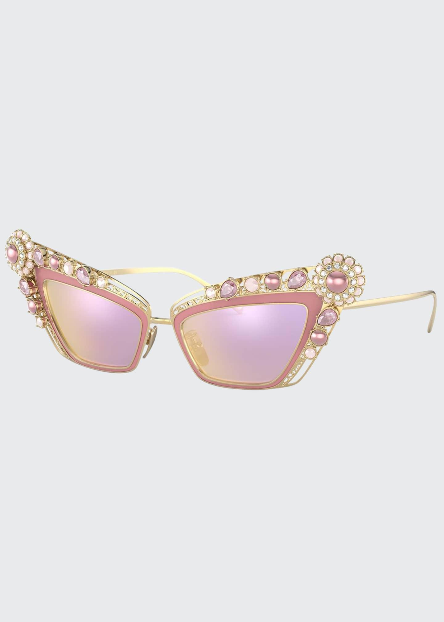 Dolce & Gabbana Crystal Embellished Cat-Eye Sunglasses