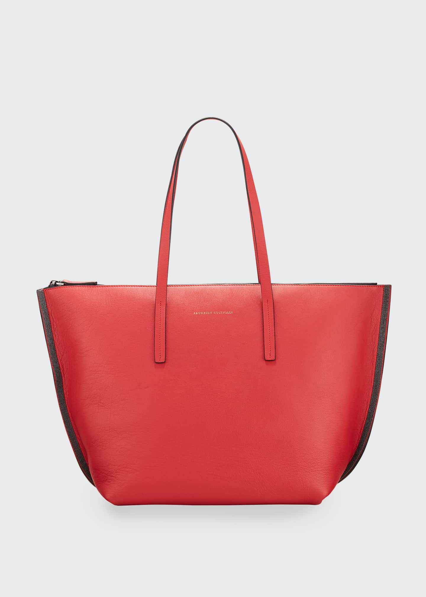 Image 1 of 3: Large Zip Tote Bag With Monili Side Detail