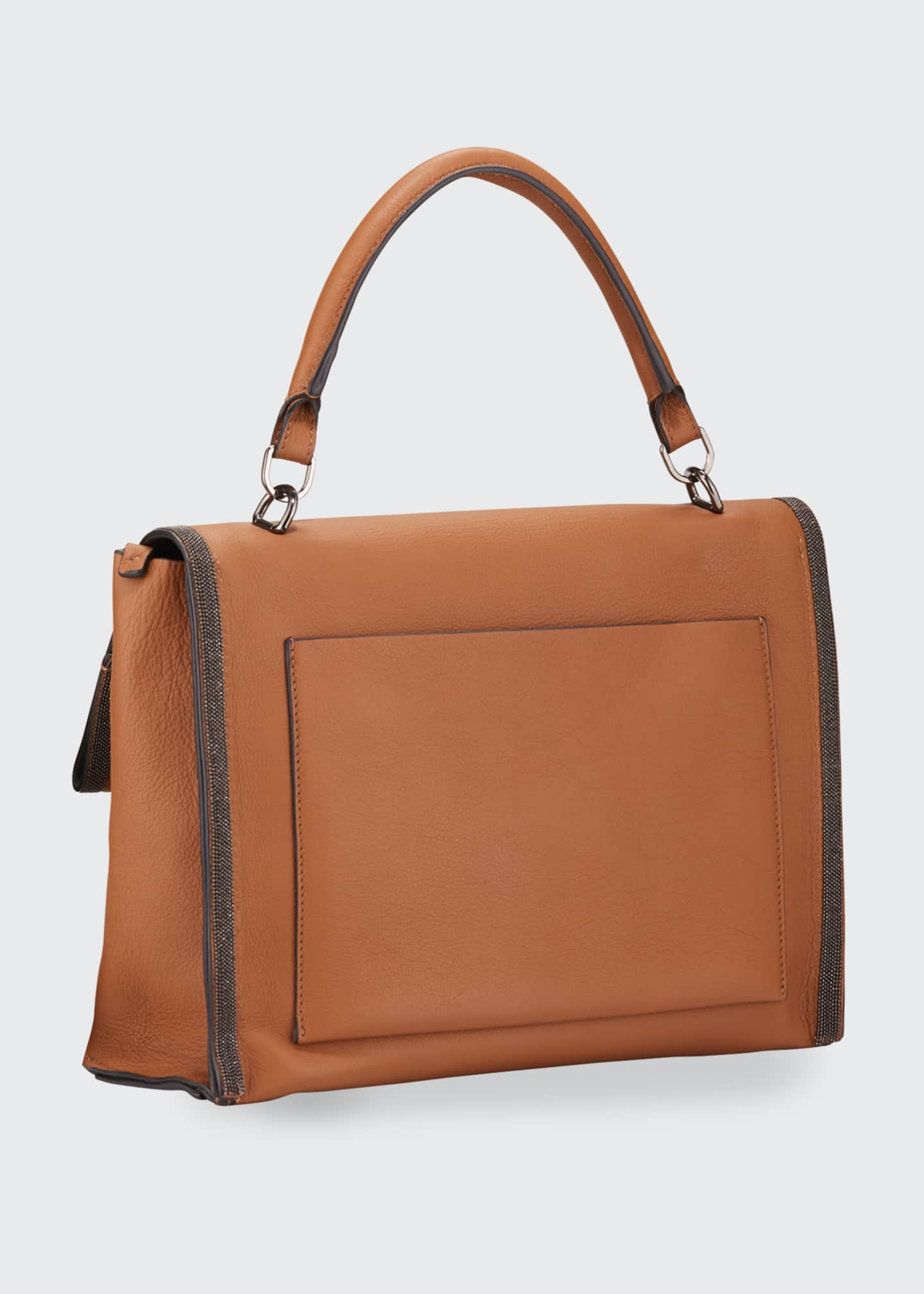 Image 2 of 3: Smooth Leather Flap Closure Bag