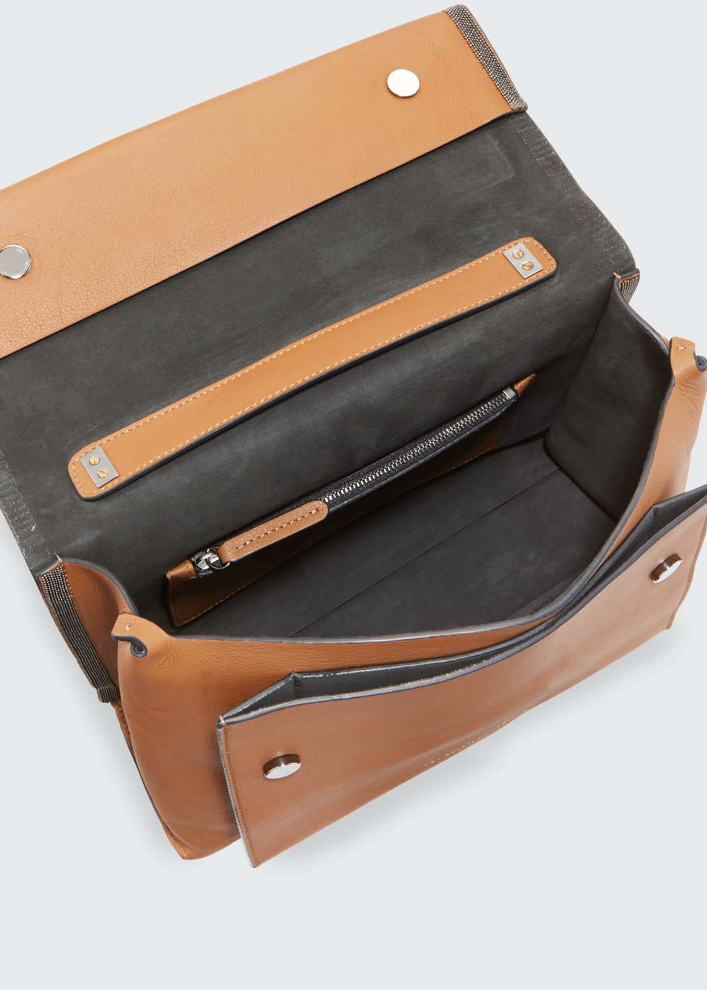 Image 3 of 3: Smooth Leather Flap Closure Bag