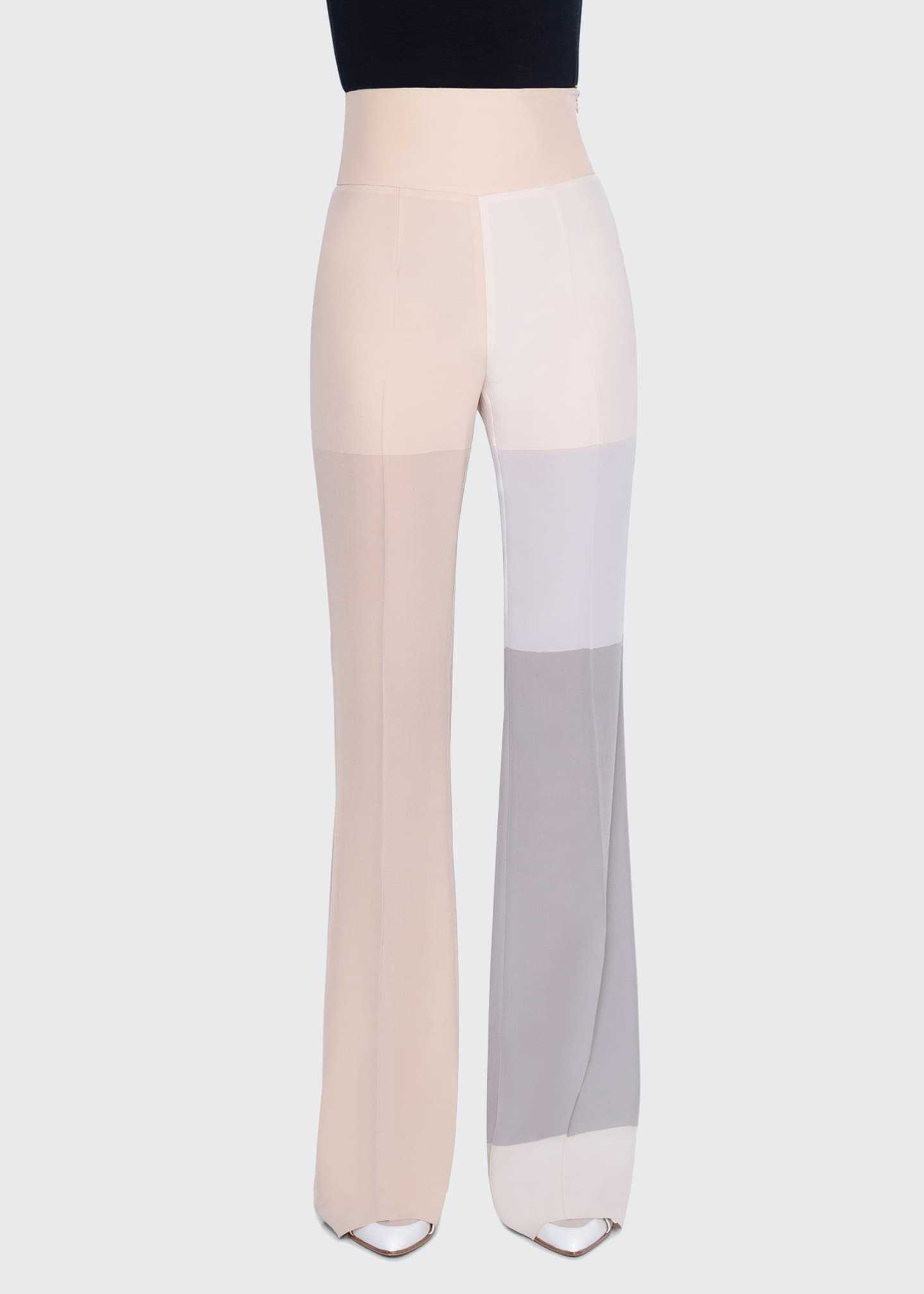 Image 2 of 3: Colorblocked Silk High-Rise Pants
