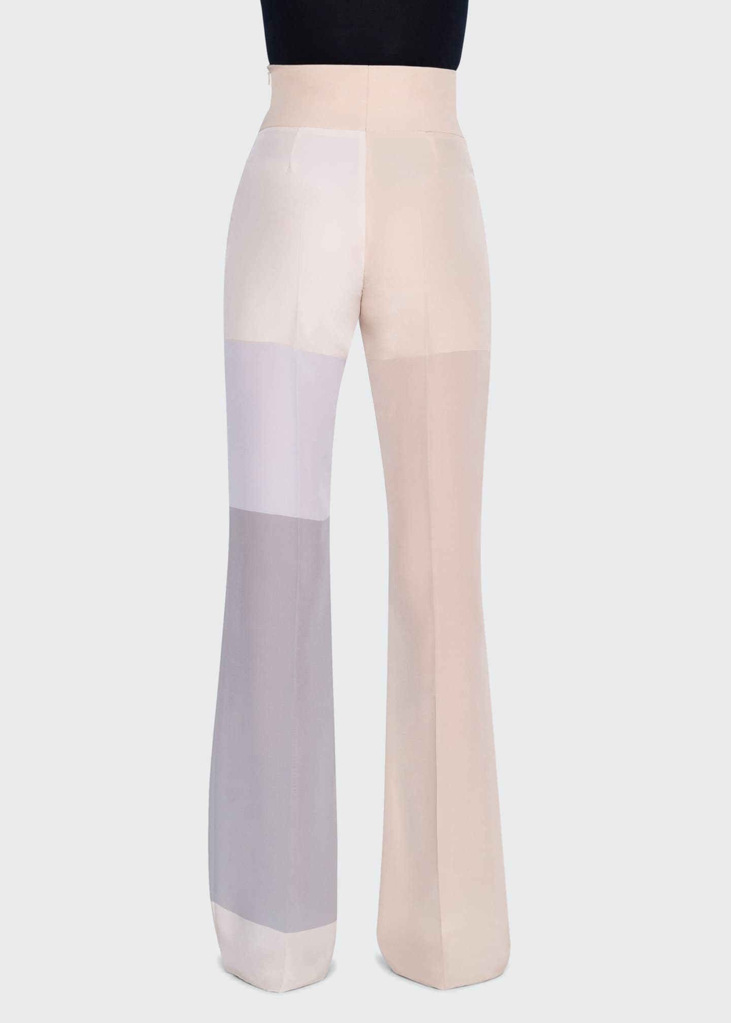 Image 3 of 3: Colorblocked Silk High-Rise Pants