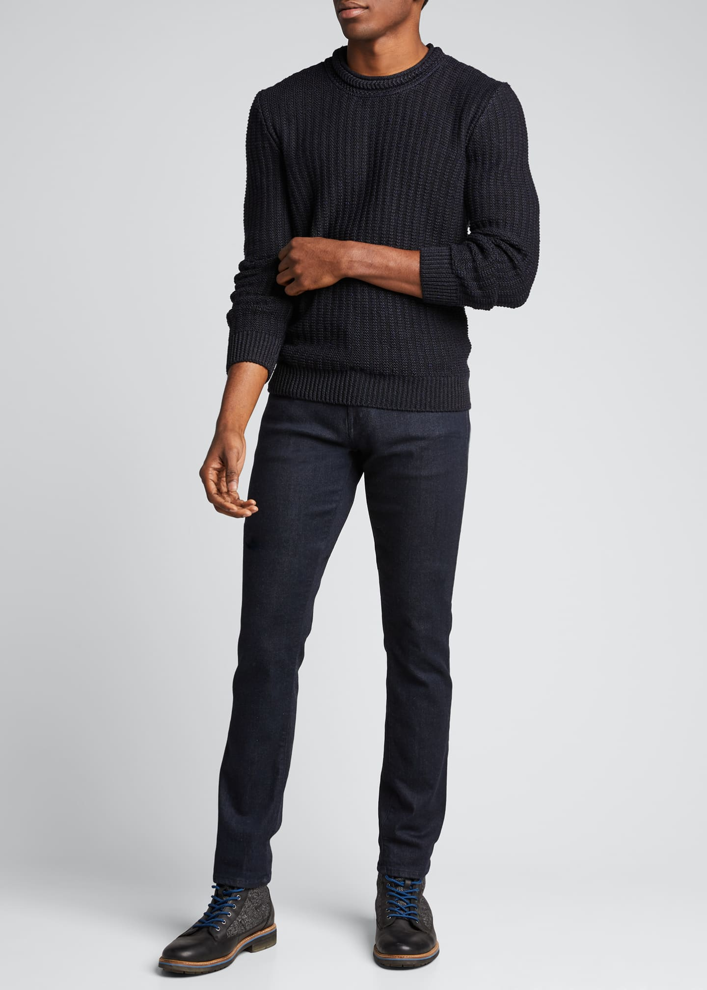 Image 1 of 5: Men's Ribbed-Knit Pullover Sweater