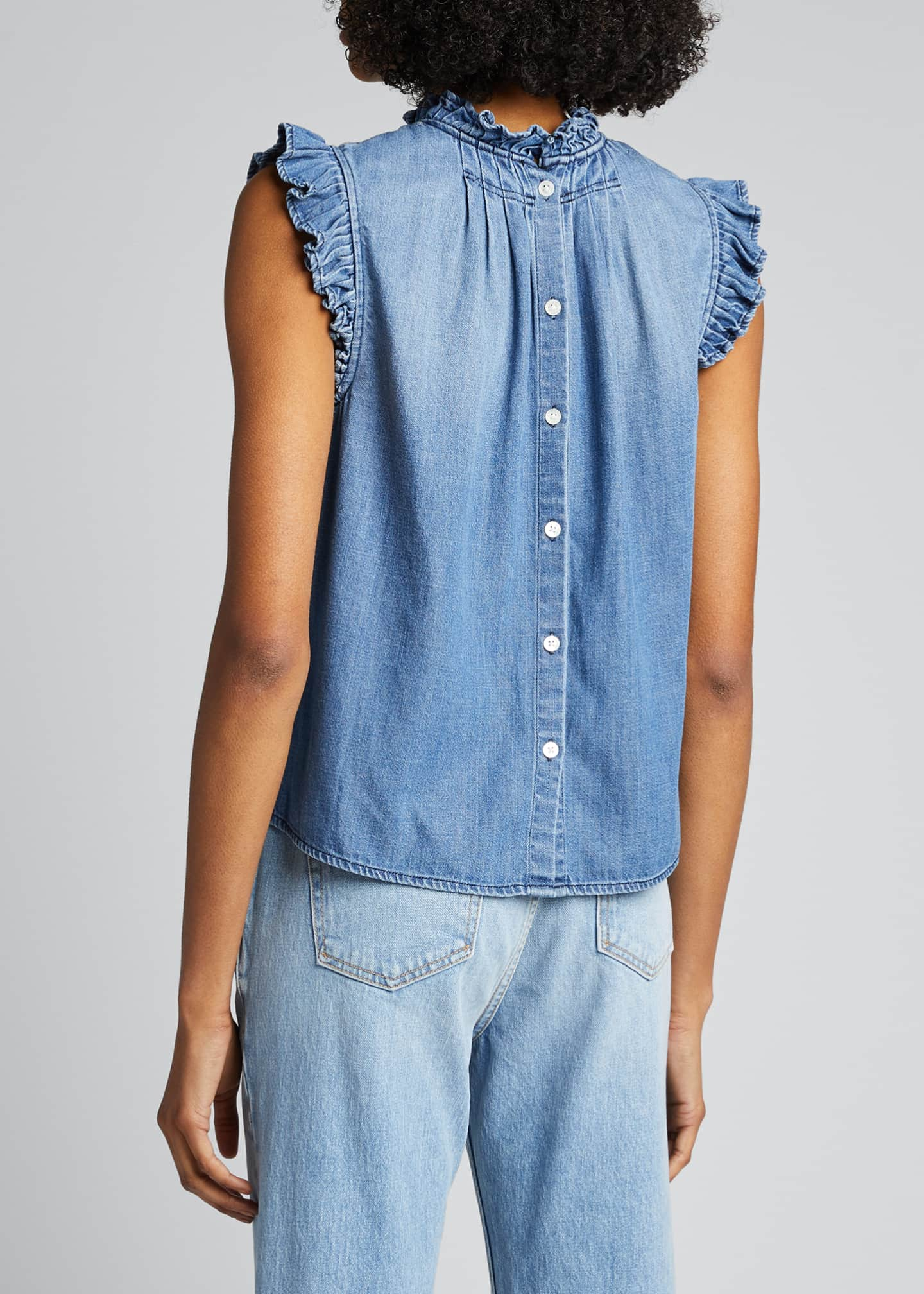 Image 2 of 5: Ruffle Denim Sleeveless Top