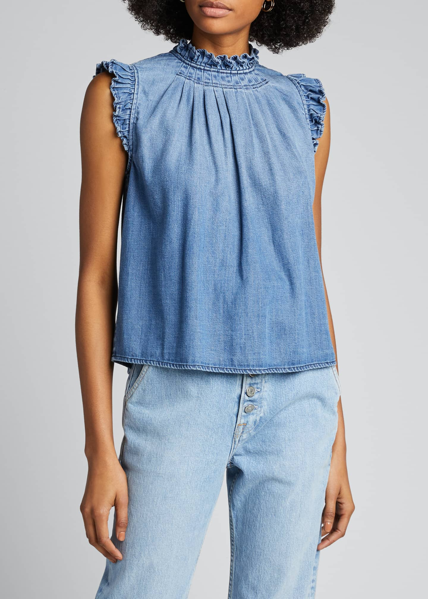 Image 3 of 5: Ruffle Denim Sleeveless Top