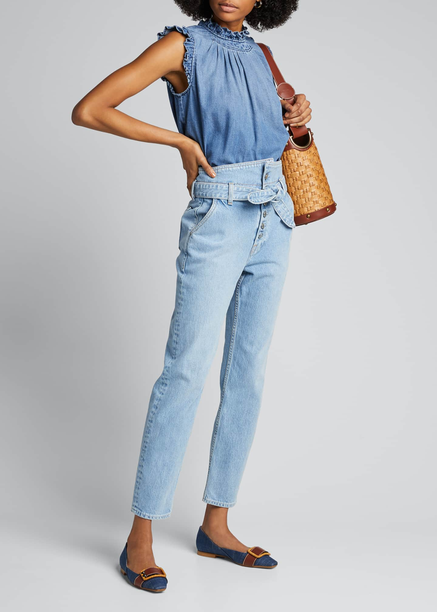 Image 1 of 5: Ruffle Denim Sleeveless Top