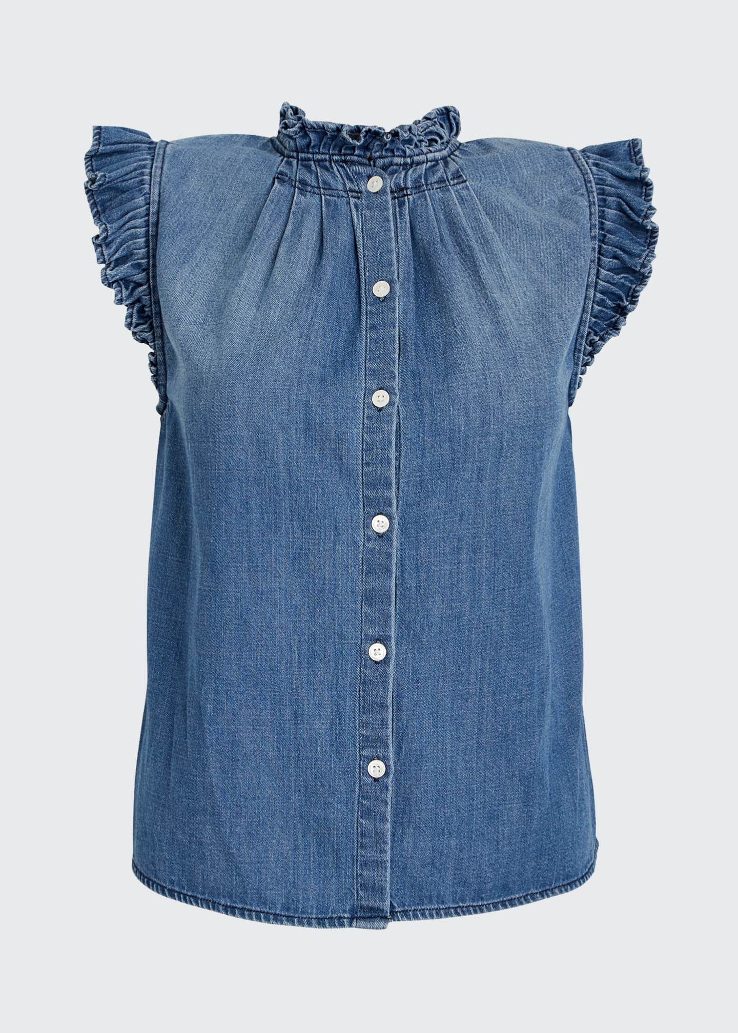 Image 5 of 5: Ruffle Denim Sleeveless Top