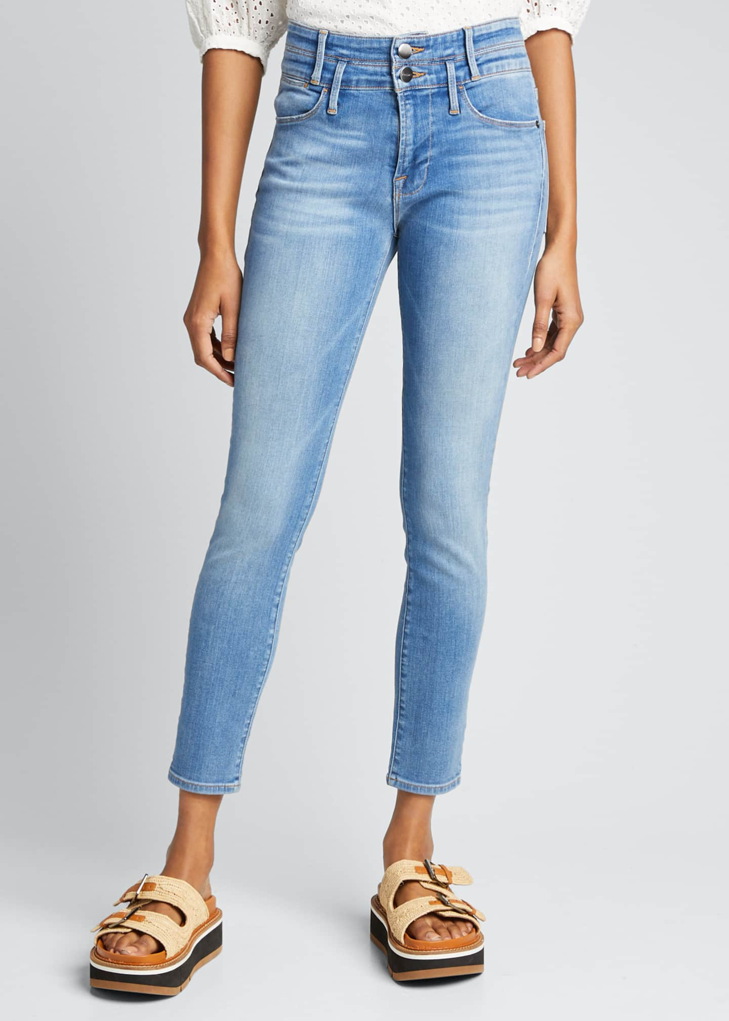 Image 3 of 5: Le High Double-Waistband Cropped Skinny Jeans