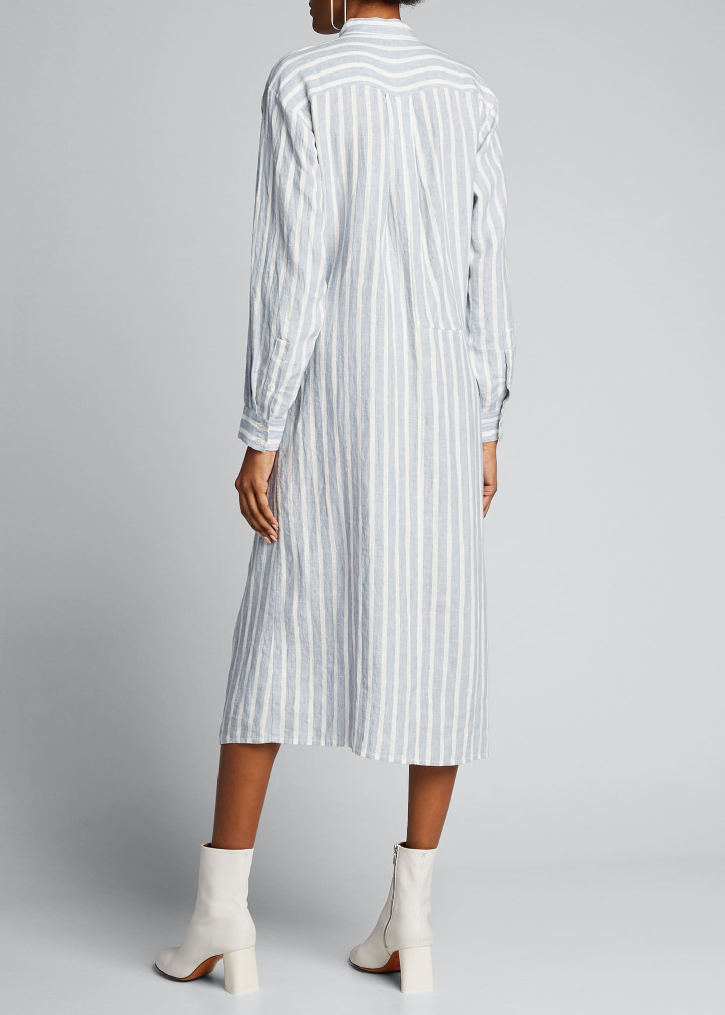 Image 2 of 5: Striped Tie-Front Button-Down Dress