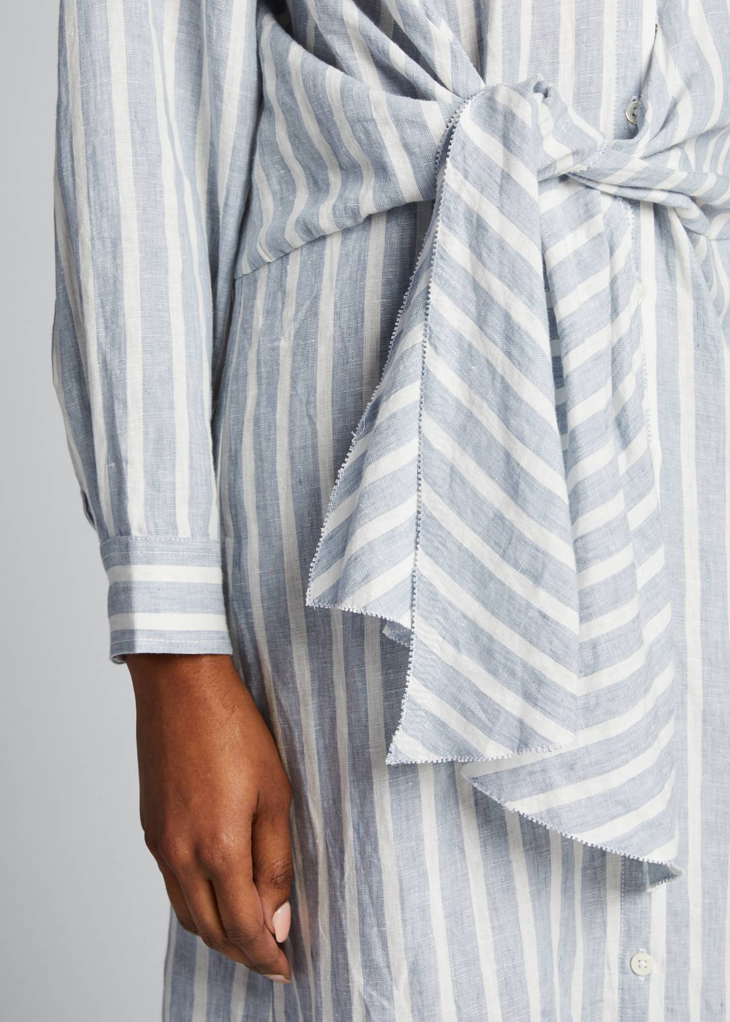 Image 4 of 5: Striped Tie-Front Button-Down Dress