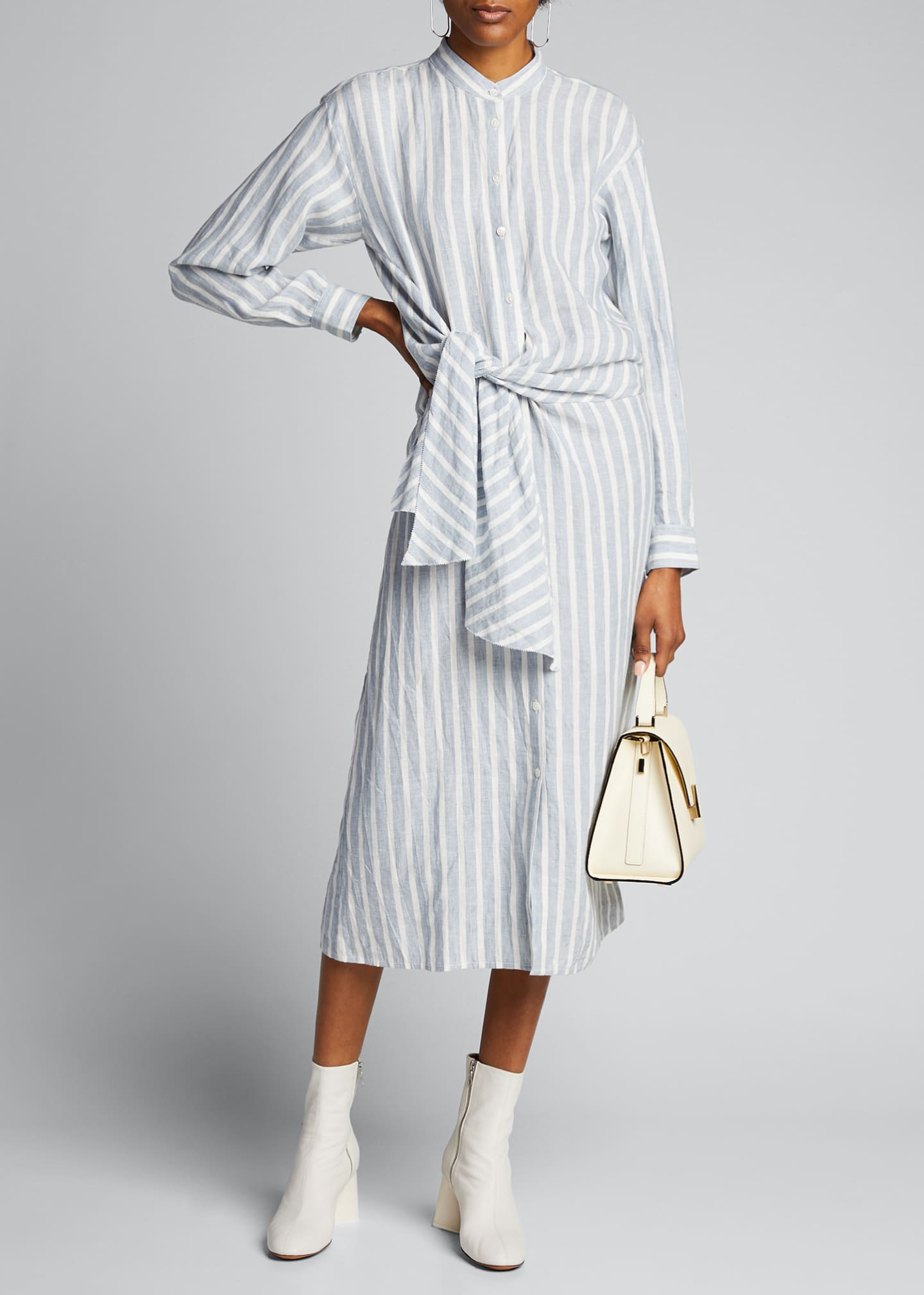 Image 1 of 5: Striped Tie-Front Button-Down Dress