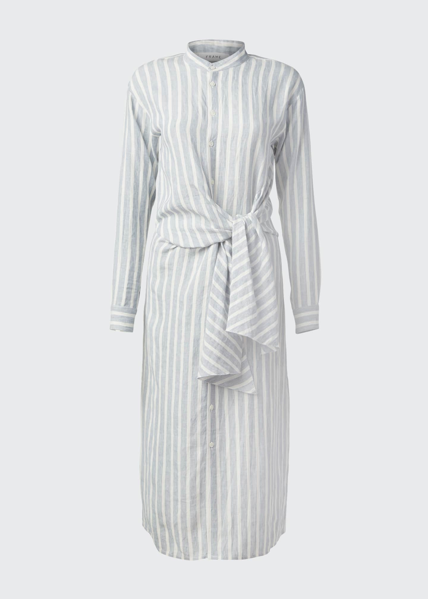 Image 5 of 5: Striped Tie-Front Button-Down Dress