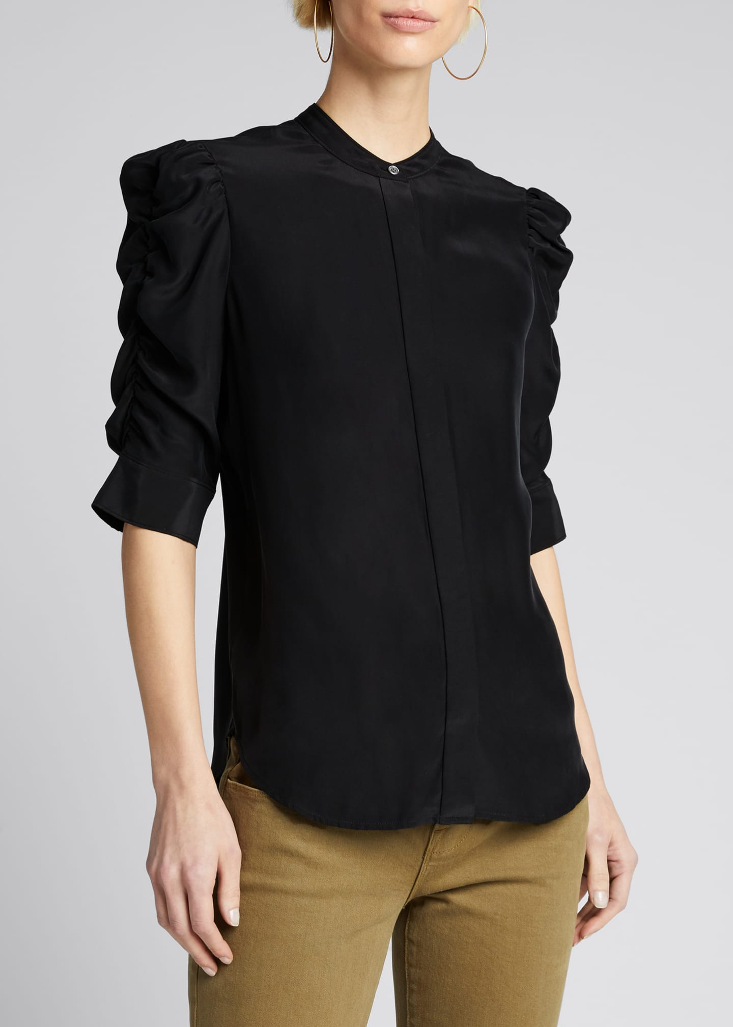 Image 3 of 5: Shirred-Sleeve Button-Up Silk Shirt