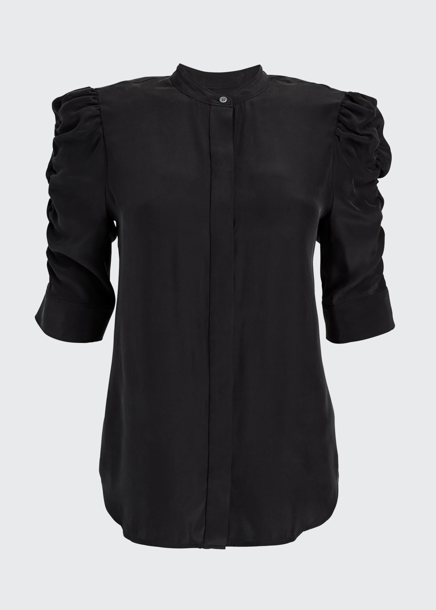 Image 5 of 5: Shirred-Sleeve Button-Up Silk Shirt