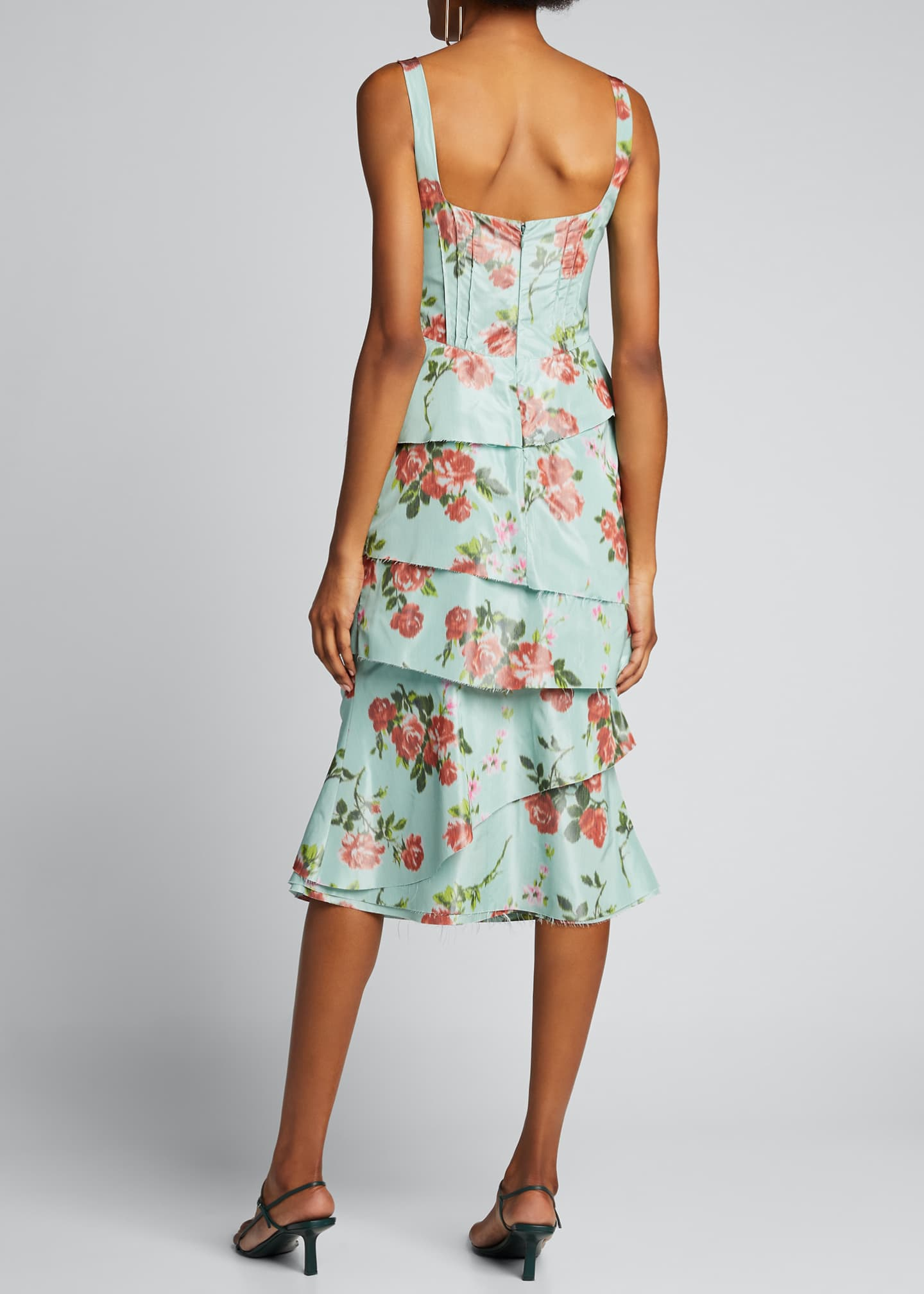 Image 2 of 5: Quantilla Floral-Print Tiered Satin Dress