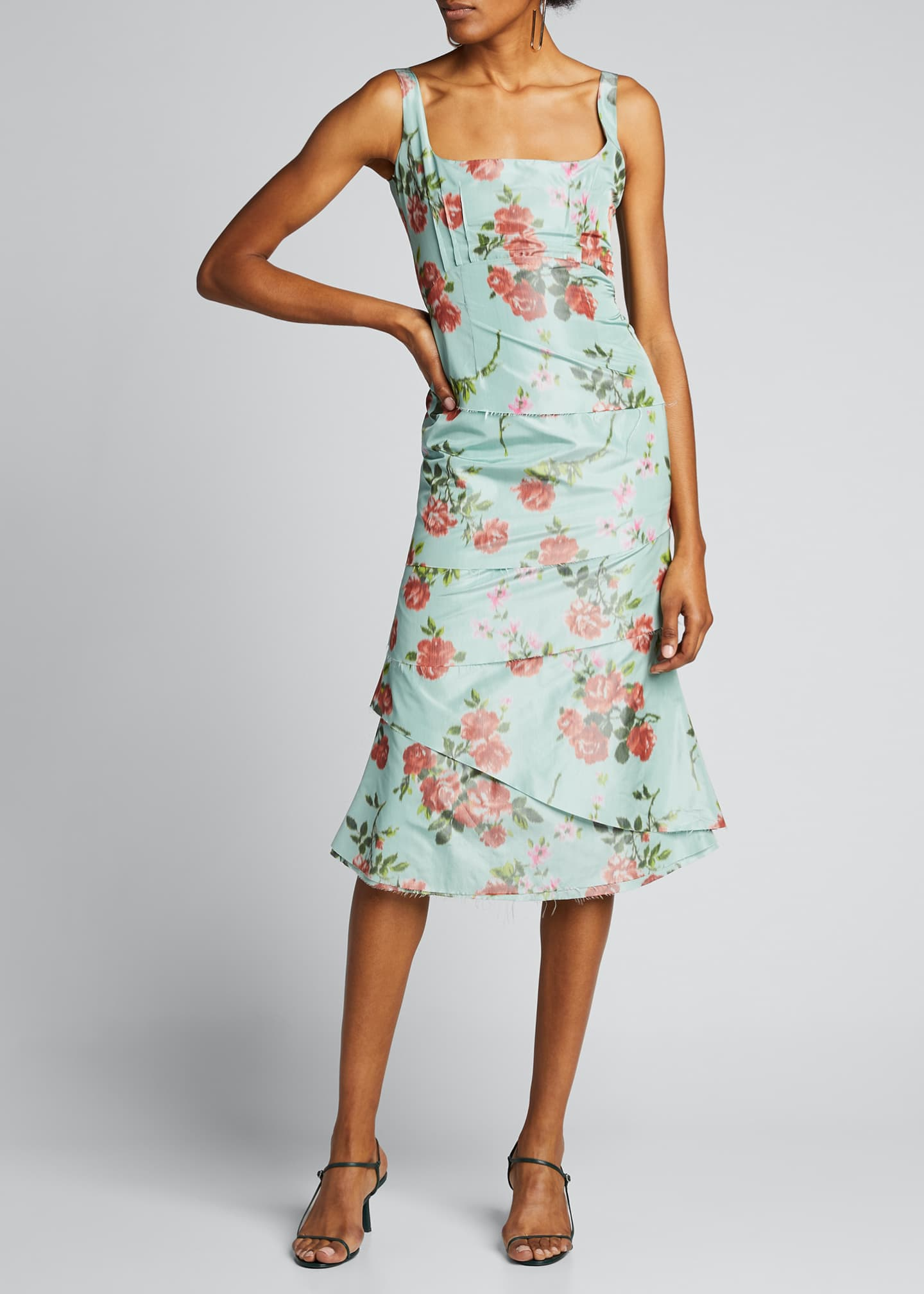 Image 3 of 5: Quantilla Floral-Print Tiered Satin Dress