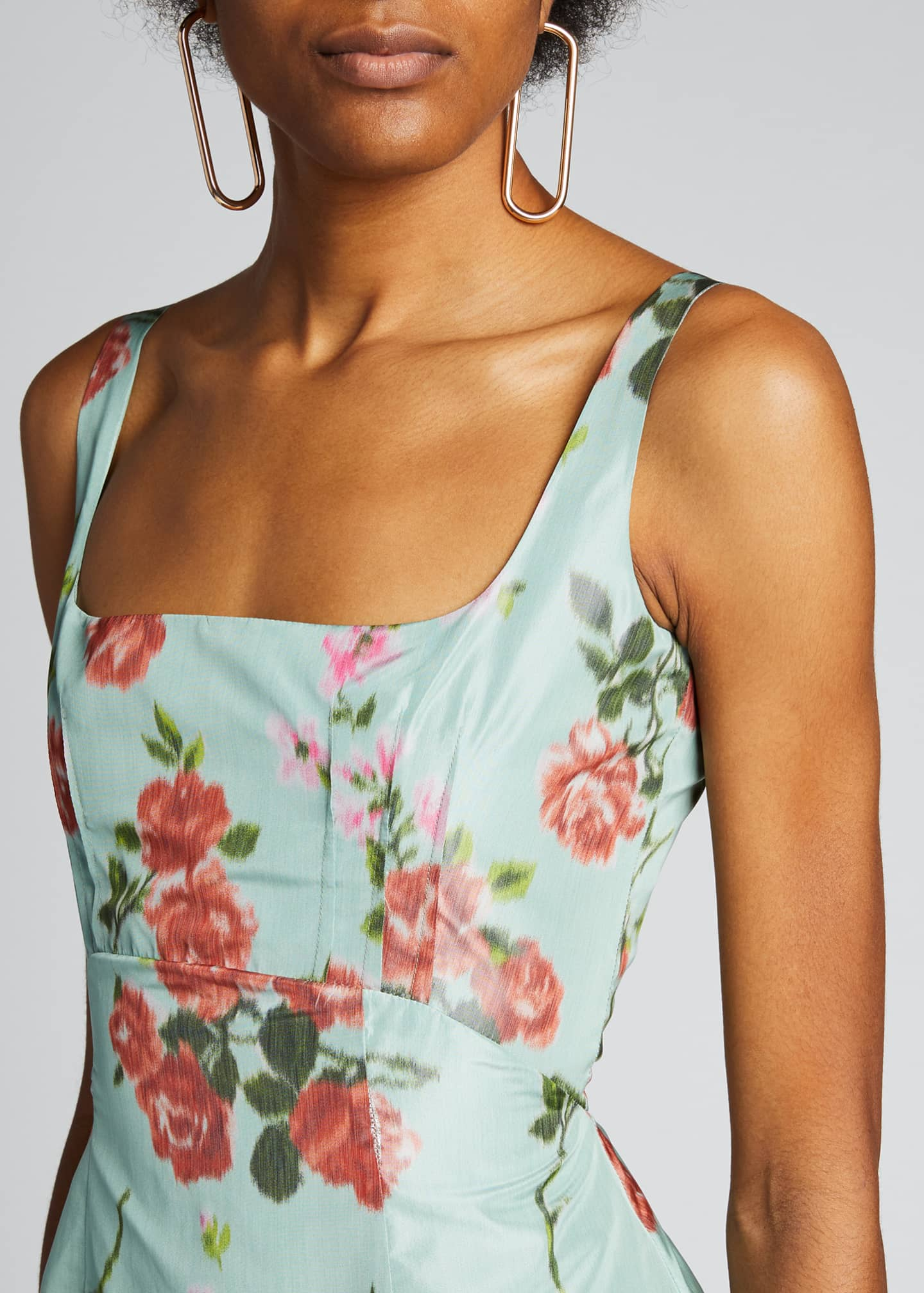 Image 4 of 5: Quantilla Floral-Print Tiered Satin Dress