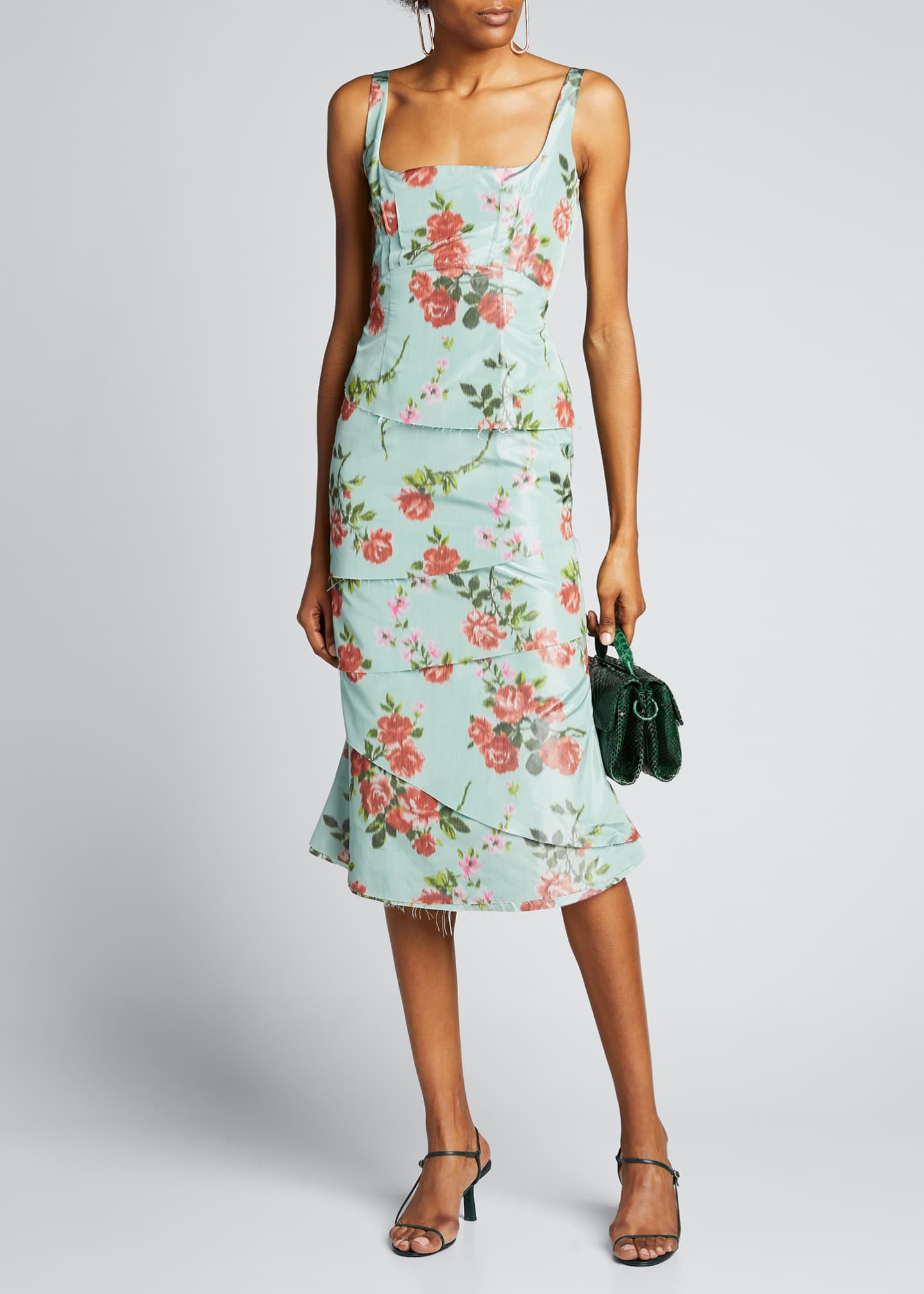 Image 1 of 5: Quantilla Floral-Print Tiered Satin Dress