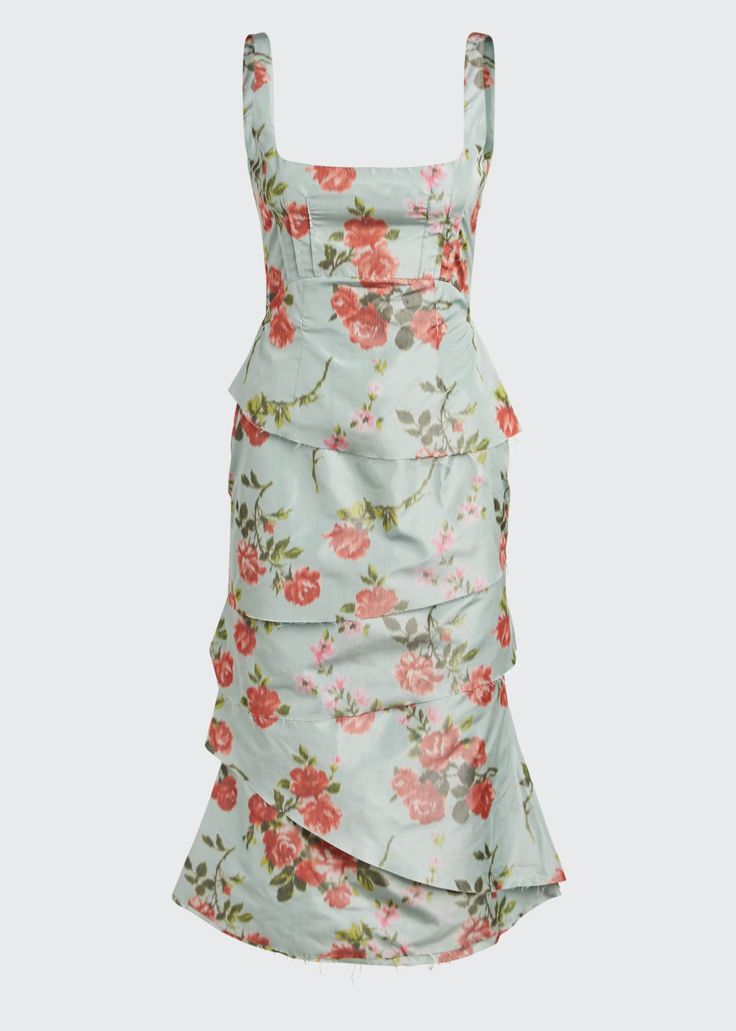 Image 5 of 5: Quantilla Floral-Print Tiered Satin Dress