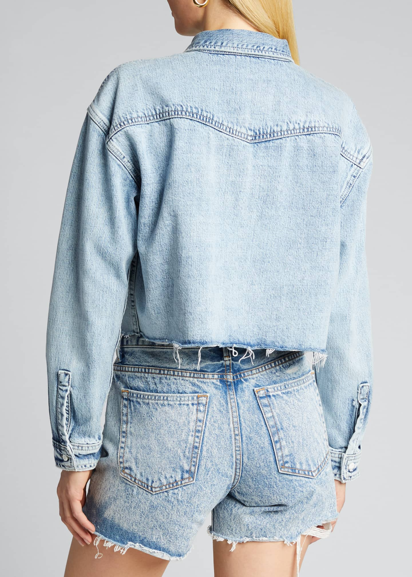 Image 2 of 5: Christy Cropped Button-Down Denim Top