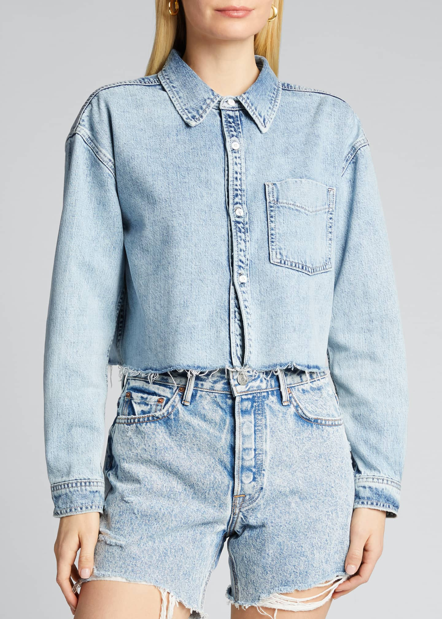 Image 3 of 5: Christy Cropped Button-Down Denim Top