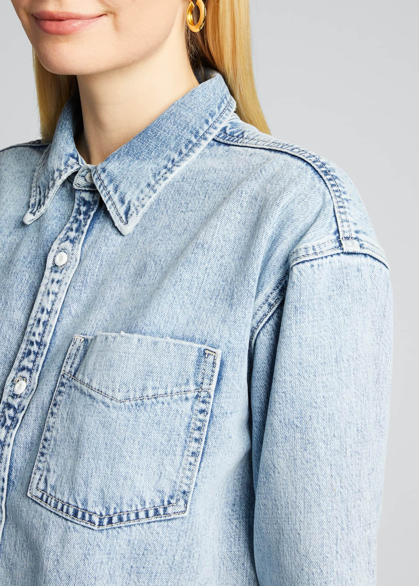 Image 4 of 5: Christy Cropped Button-Down Denim Top