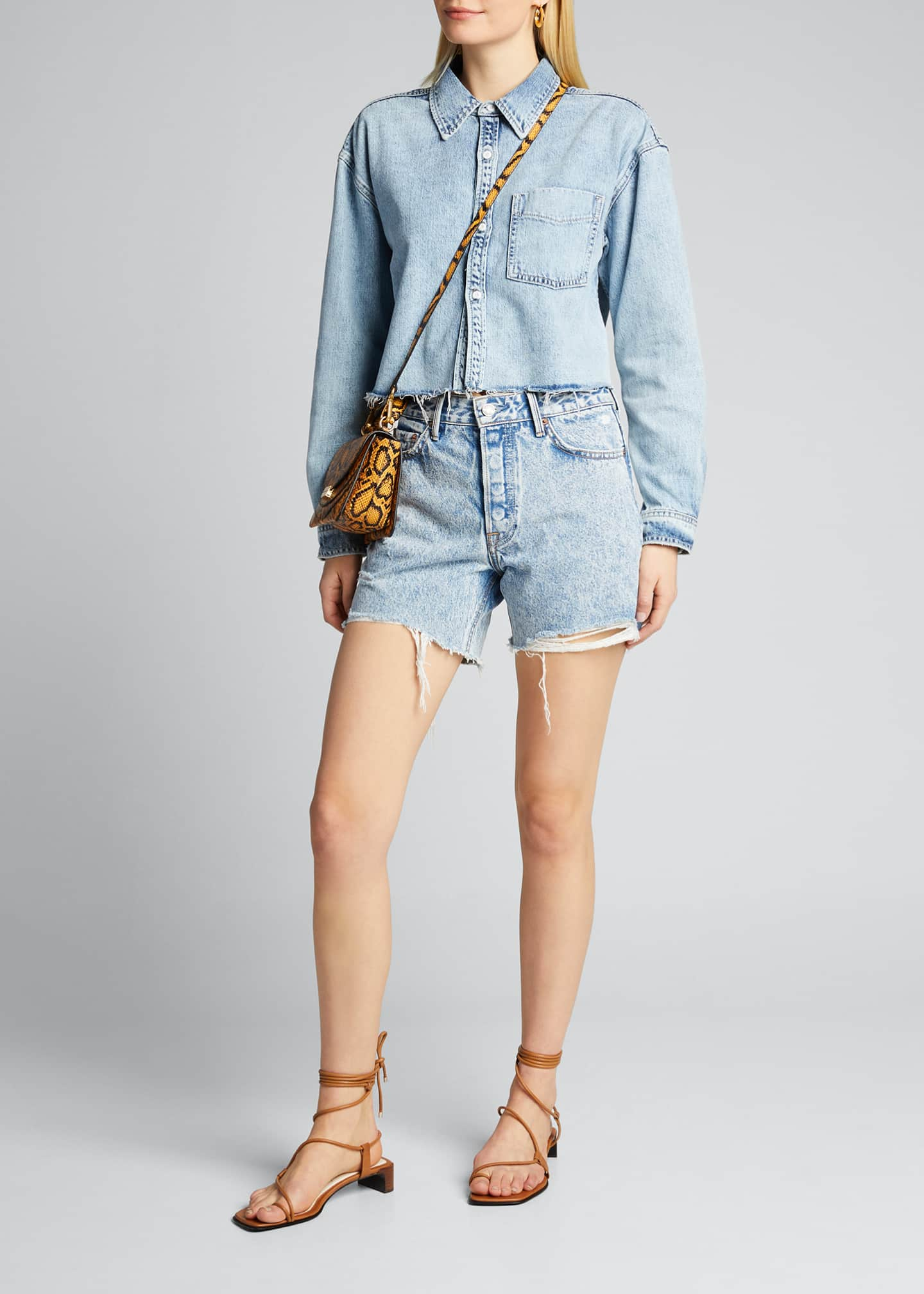 Image 1 of 5: Christy Cropped Button-Down Denim Top