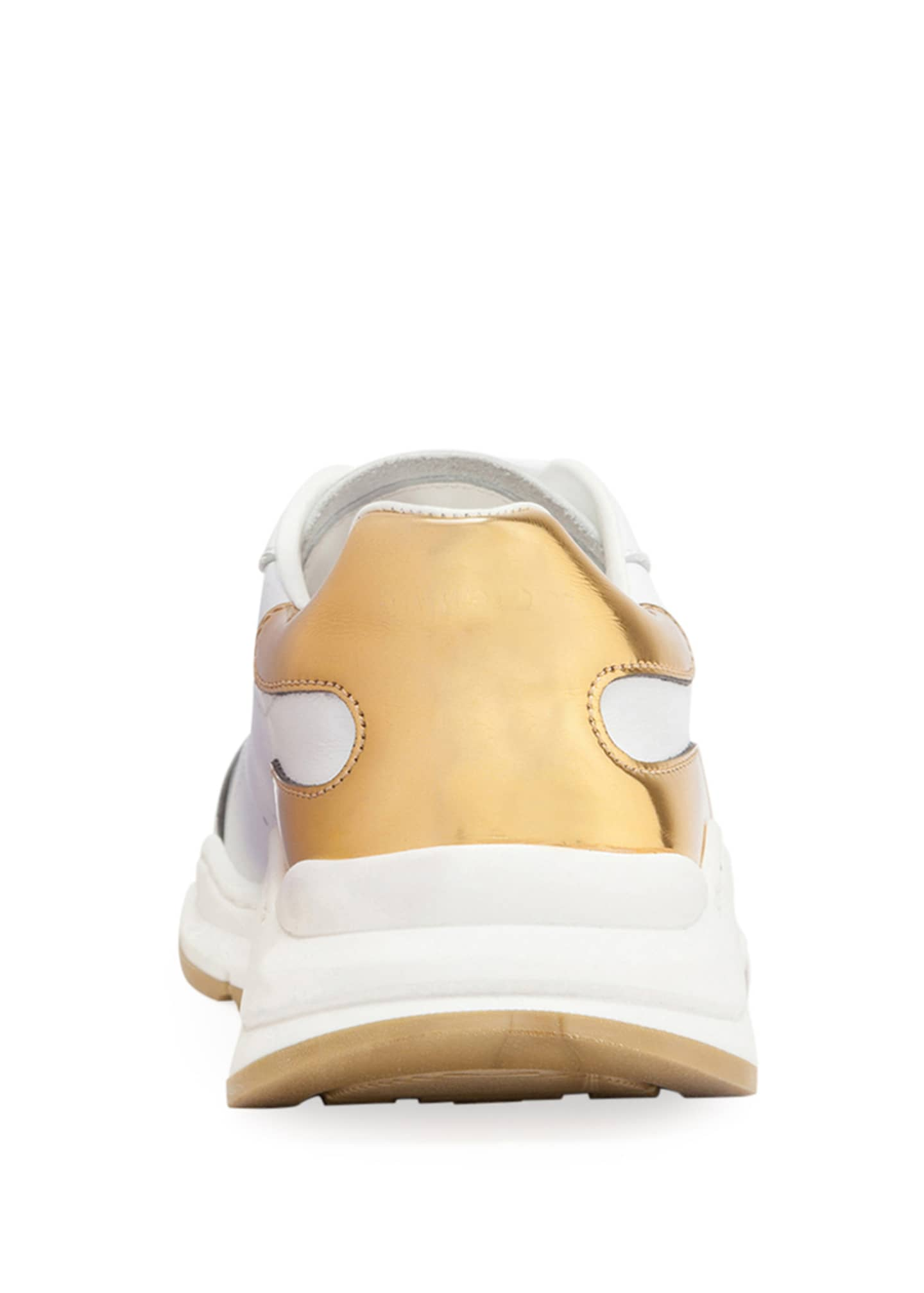 Image 4 of 4: Day Master Gold Trim Lace-Up Leather Sneakers, Kids